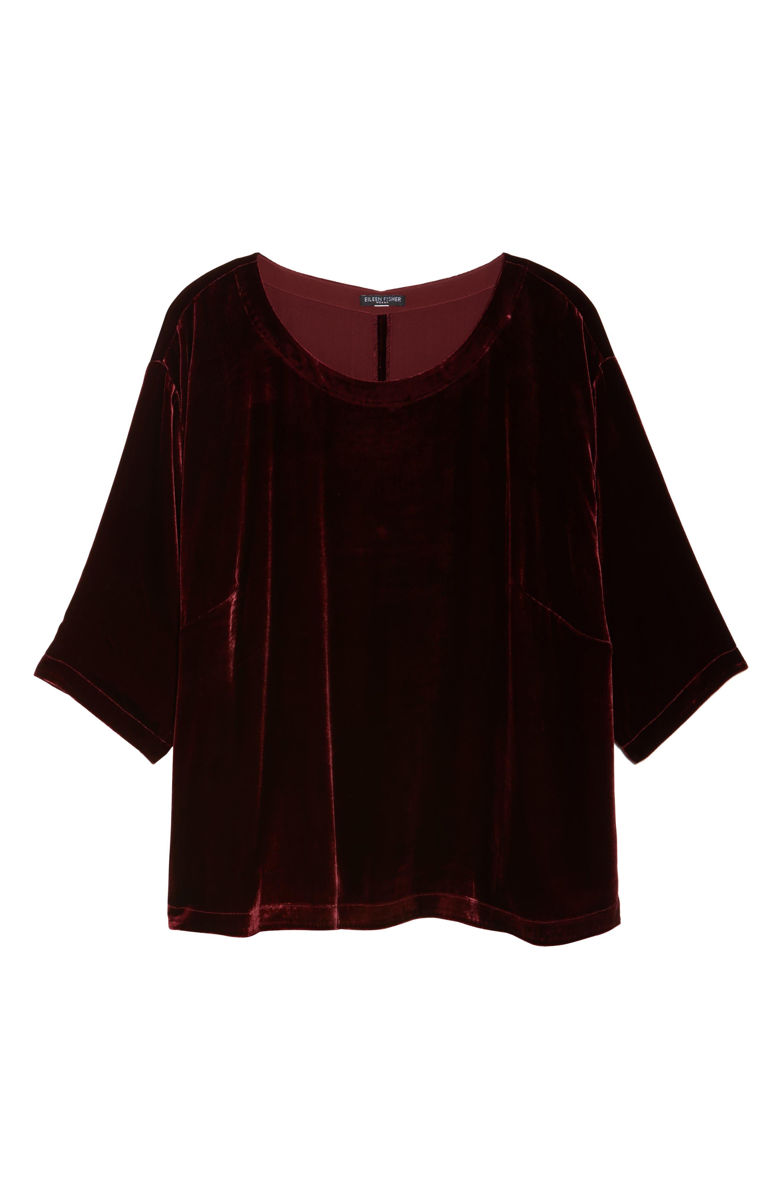 Alternate Image 6  - Eileen Fisher Boxy Velvet Top (Plus Size)
