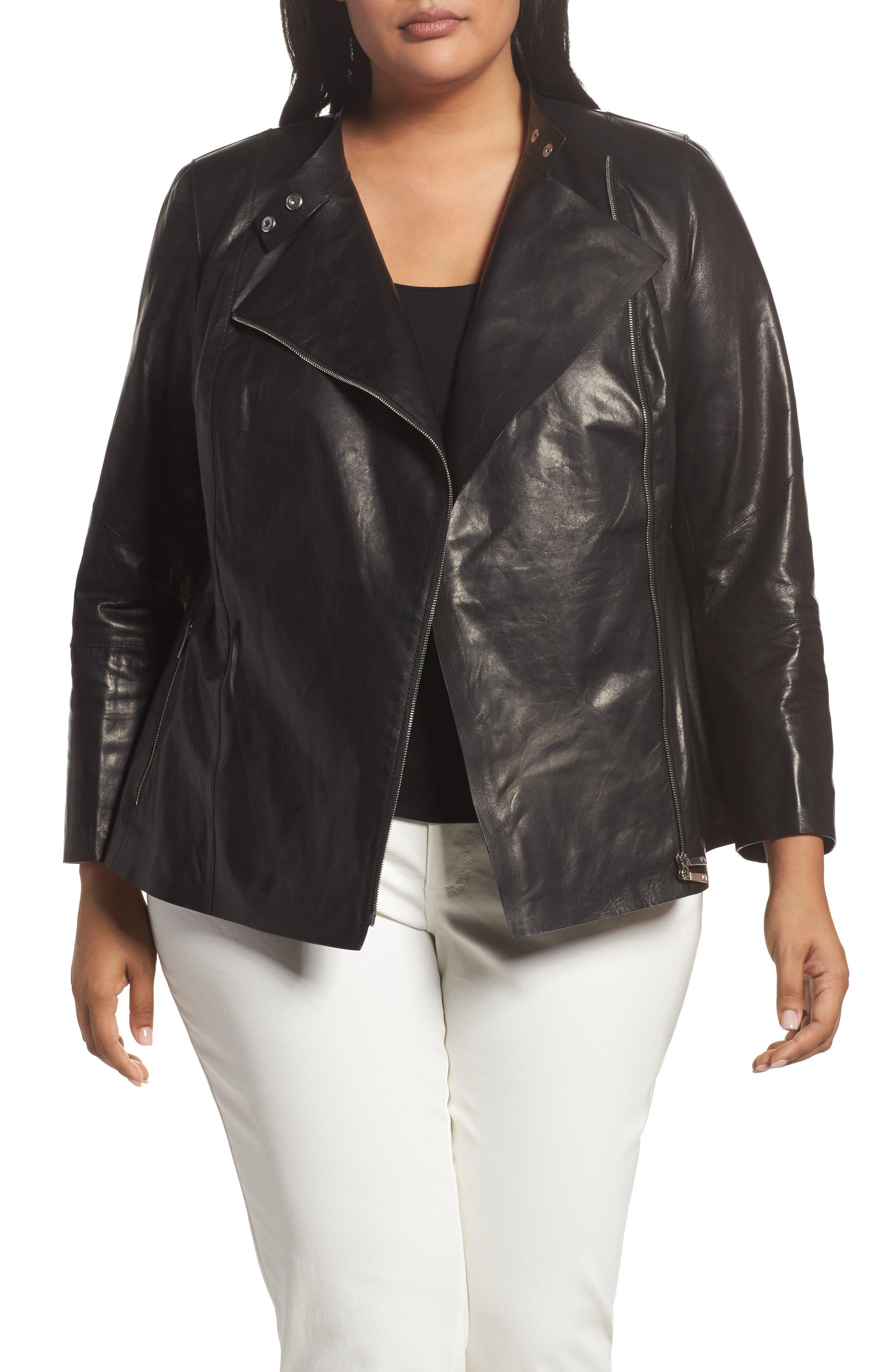 Lafayette 148 New York Presley Moto Leather Jacket (Plus Size)