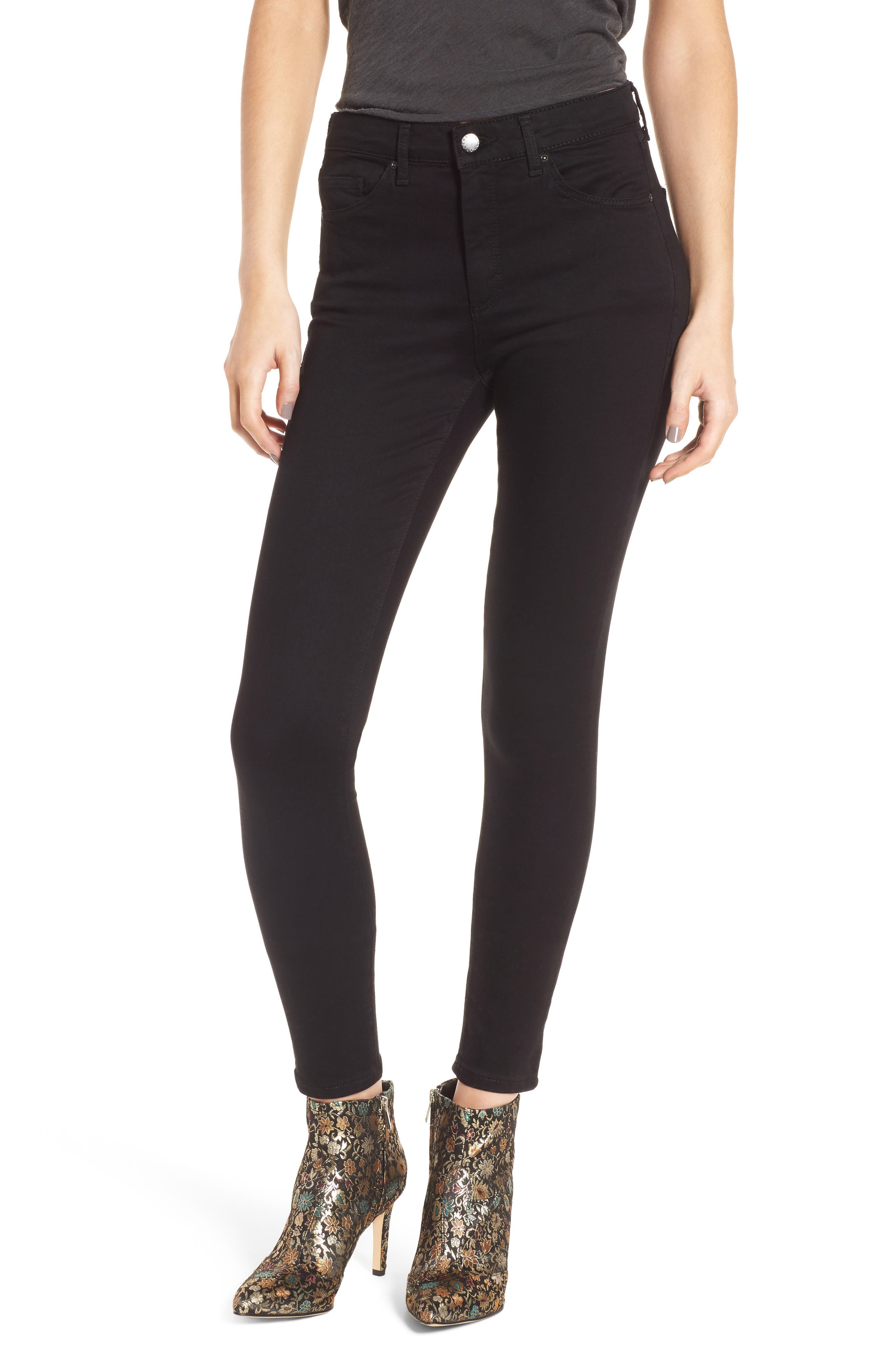 Leigh Ankle Skinny Jeans,                         Main,                         color, Black