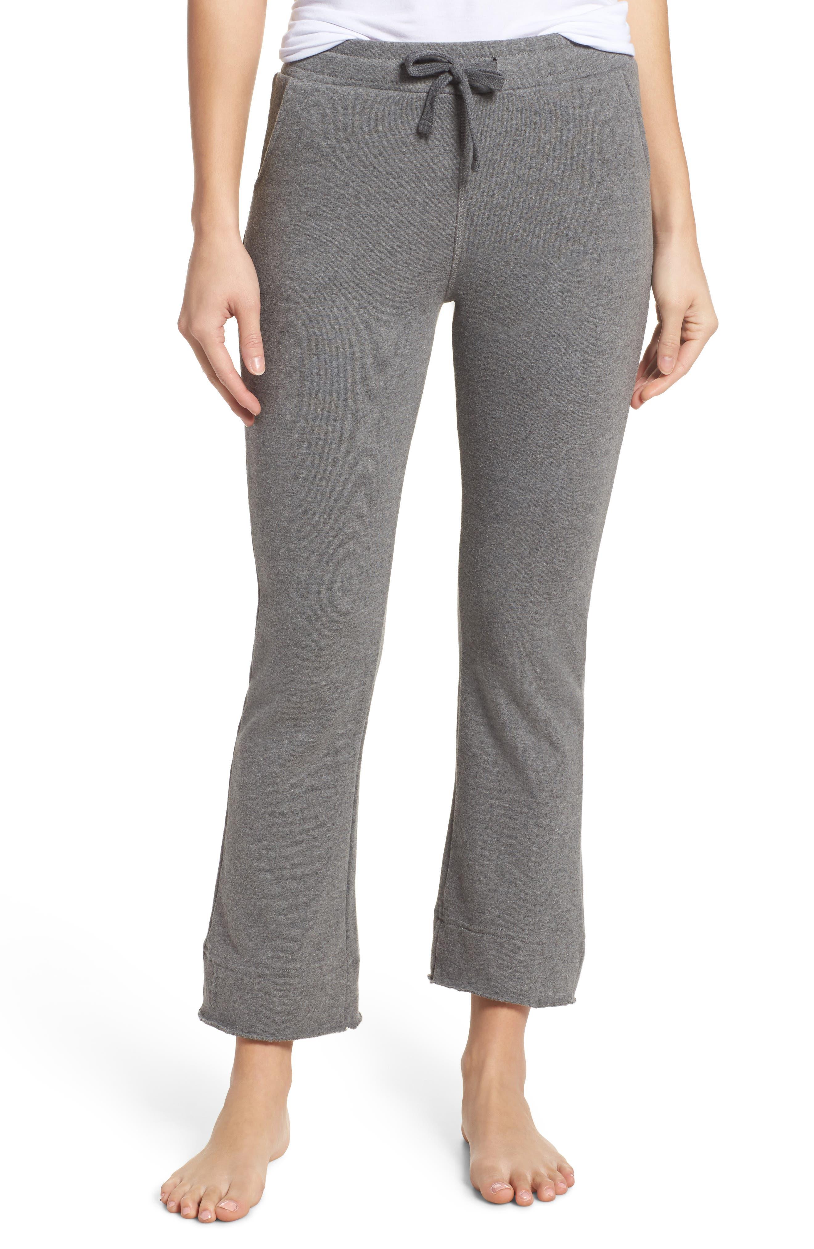 Crop Flare Sweatpants,                         Main,                         color, Grey Melange