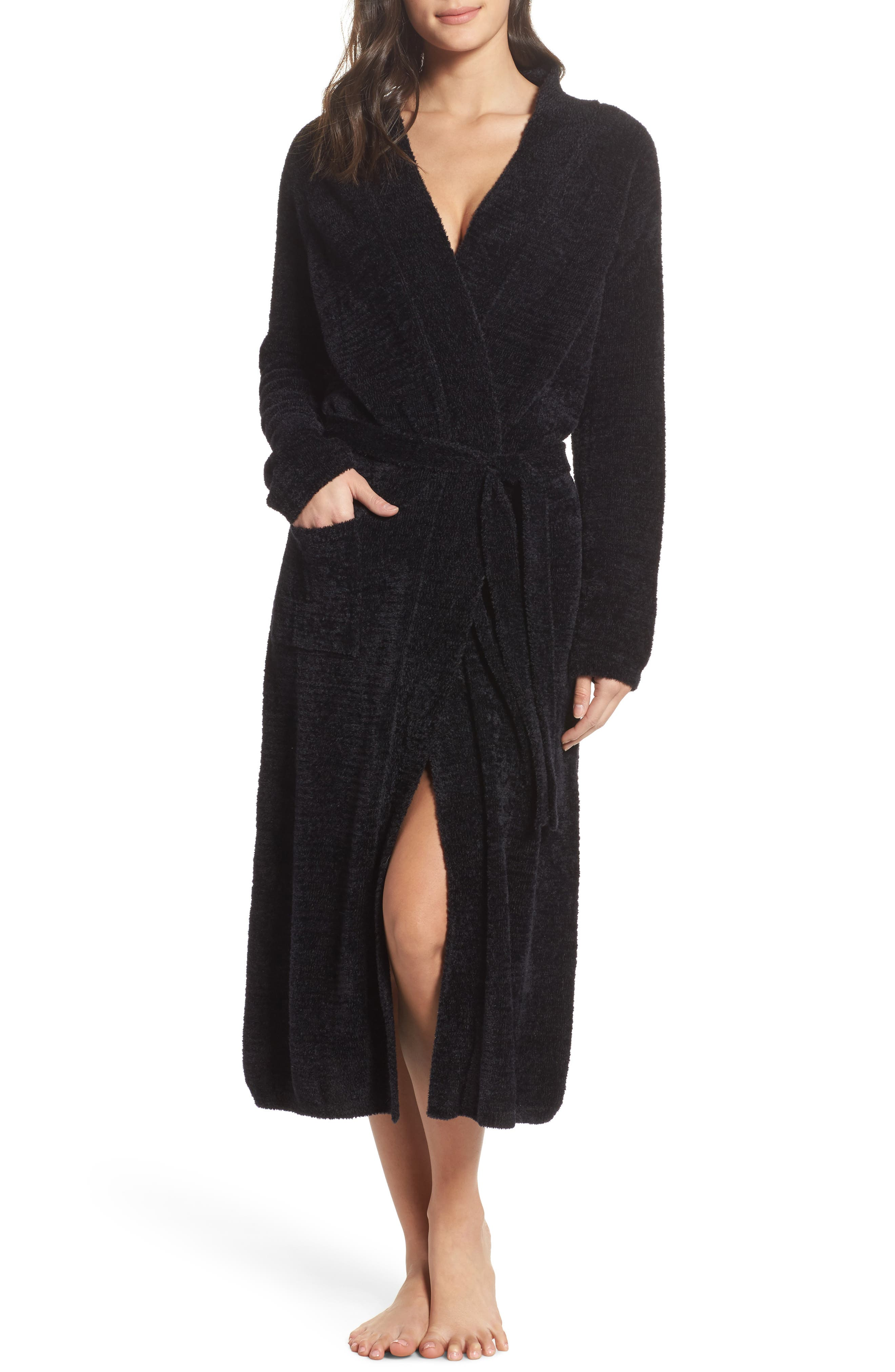 Chenille Robe,                             Main thumbnail 1, color,                             Black
