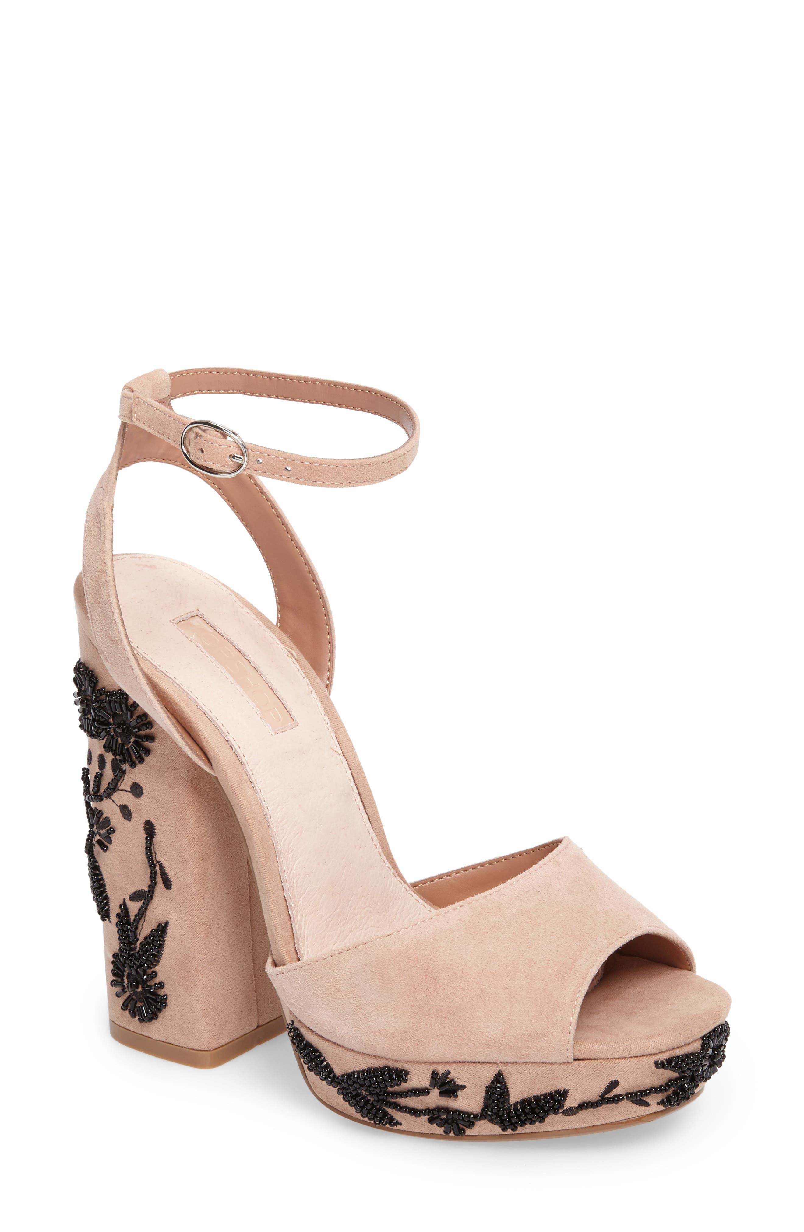 Topshop Lavish Beaded Platform Sandal (Women)