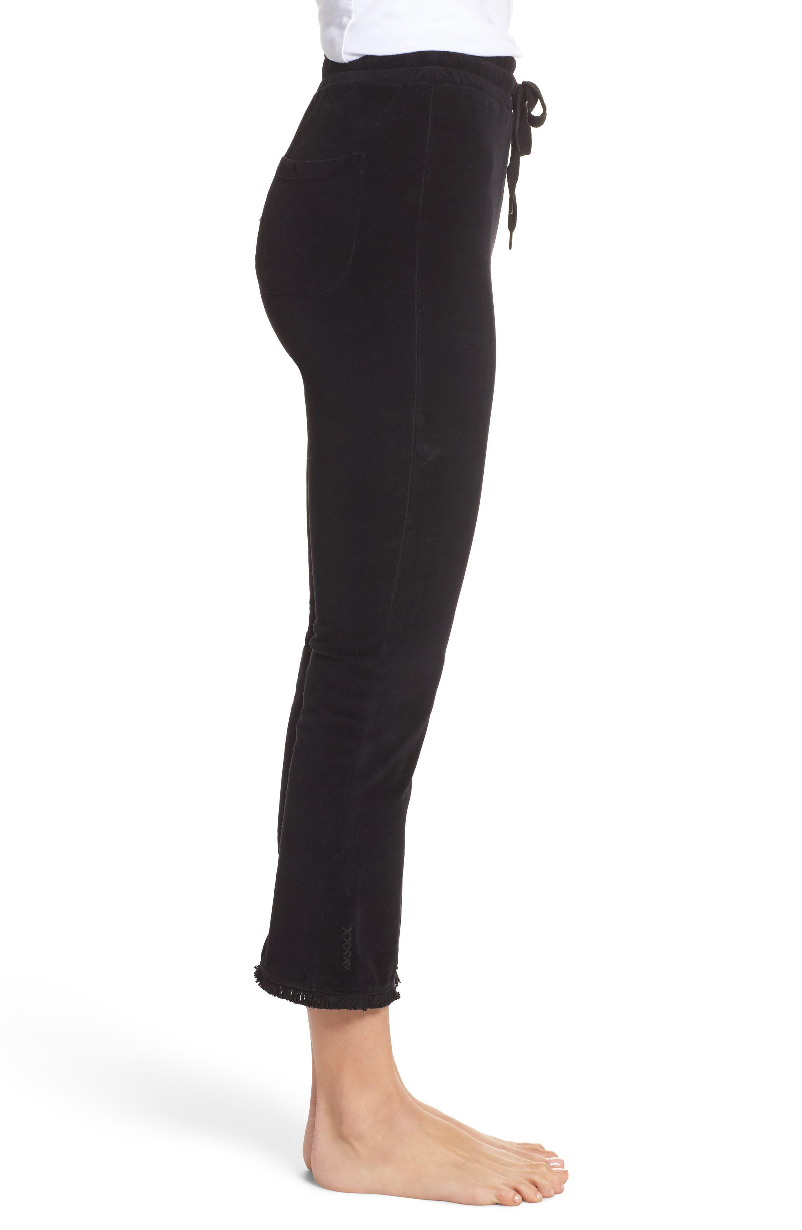 Crop Velour Lounge Pants,                             Alternate thumbnail 3, color,                             Black