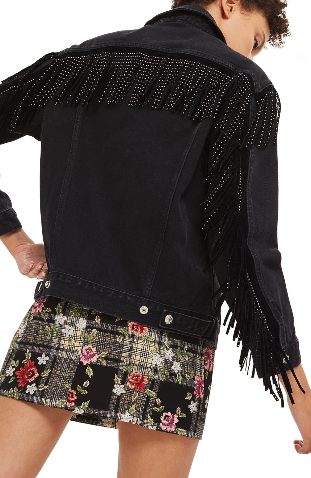 Alternate Image 4  - Topshop Stud Fringe Denim Jacket