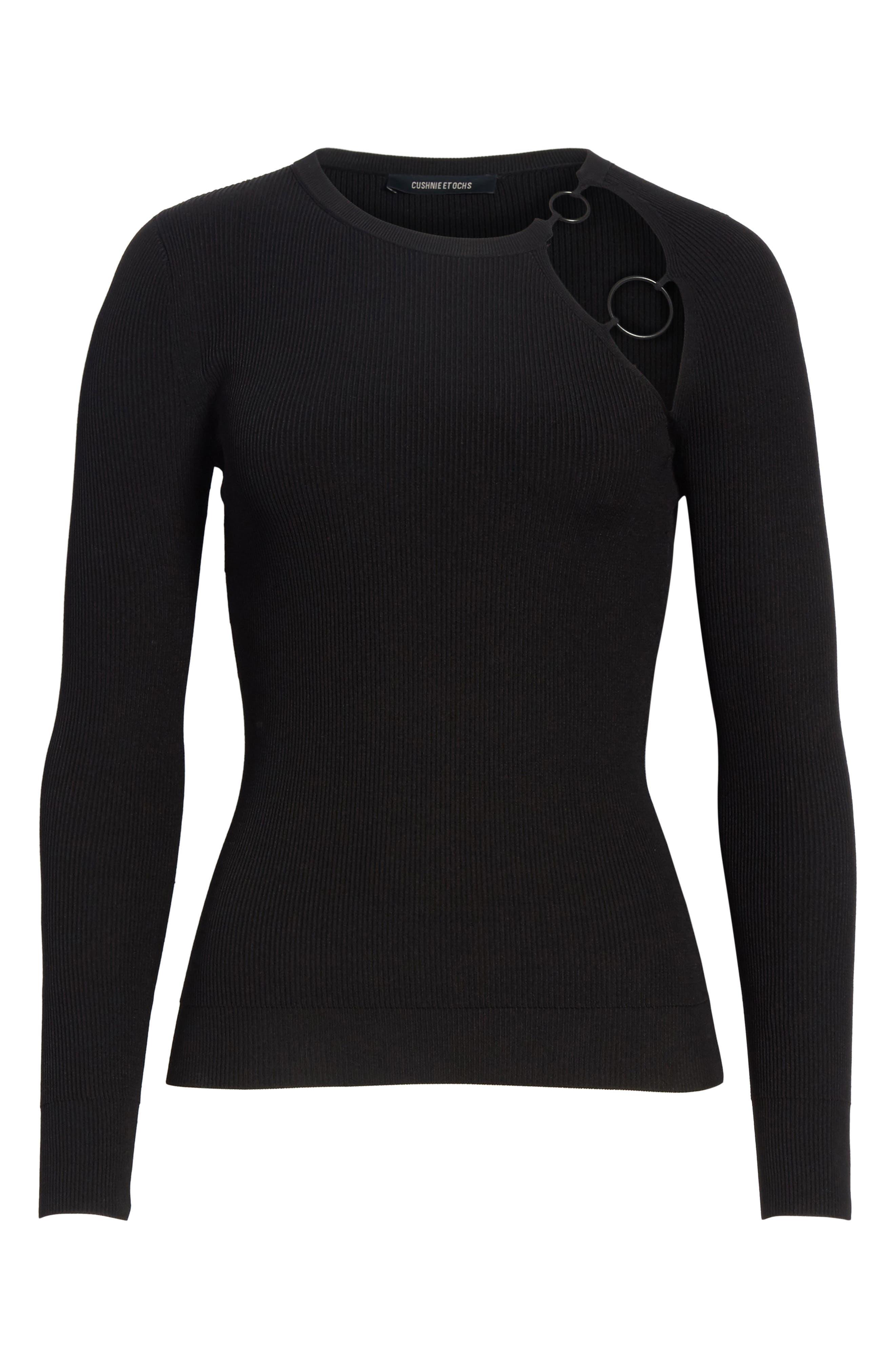 Sienna Ring Detail Knit Top,                             Alternate thumbnail 6, color,                             Black/ Matte Black