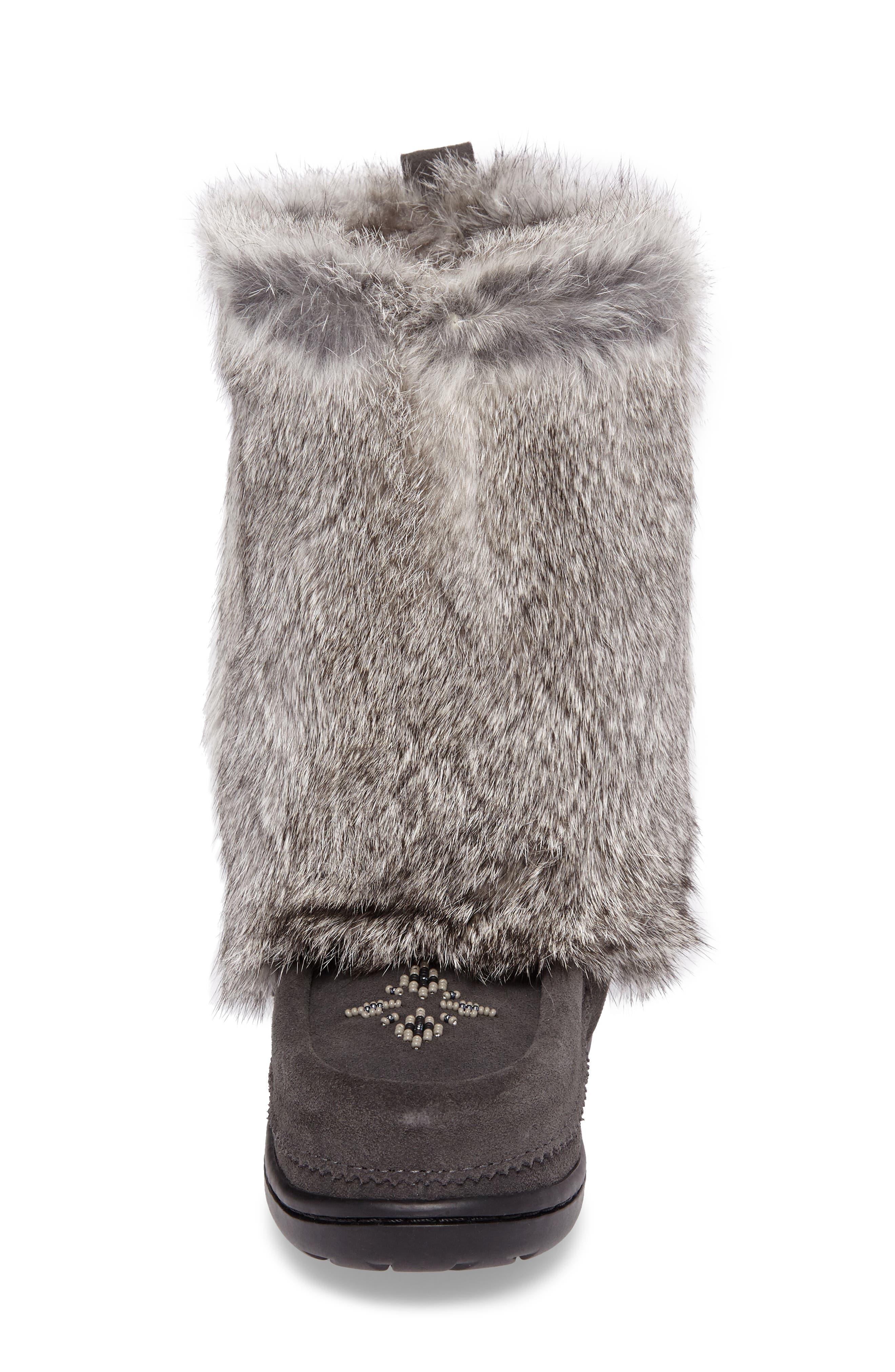 Nordic Genuine Rabbit Fur & Genuine Shearling Mukluk Boot,                             Alternate thumbnail 4, color,                             Charcoal