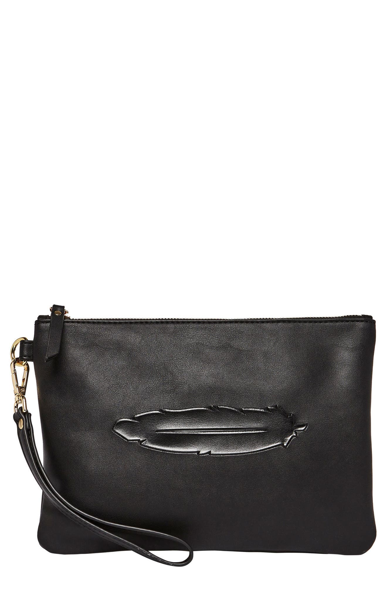 Clutch to Dream Vegan Leather Clutch,                         Main,                         color, Black