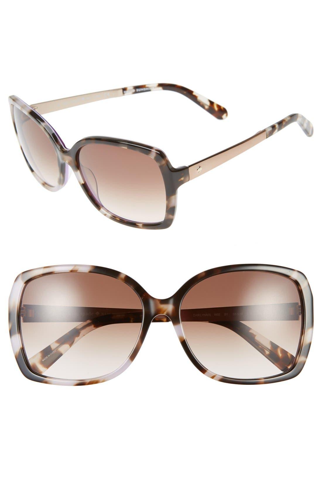 'darrilyn' 58mm butterfly sunglasses,                         Main,                         color, Tortoise/ Lavender