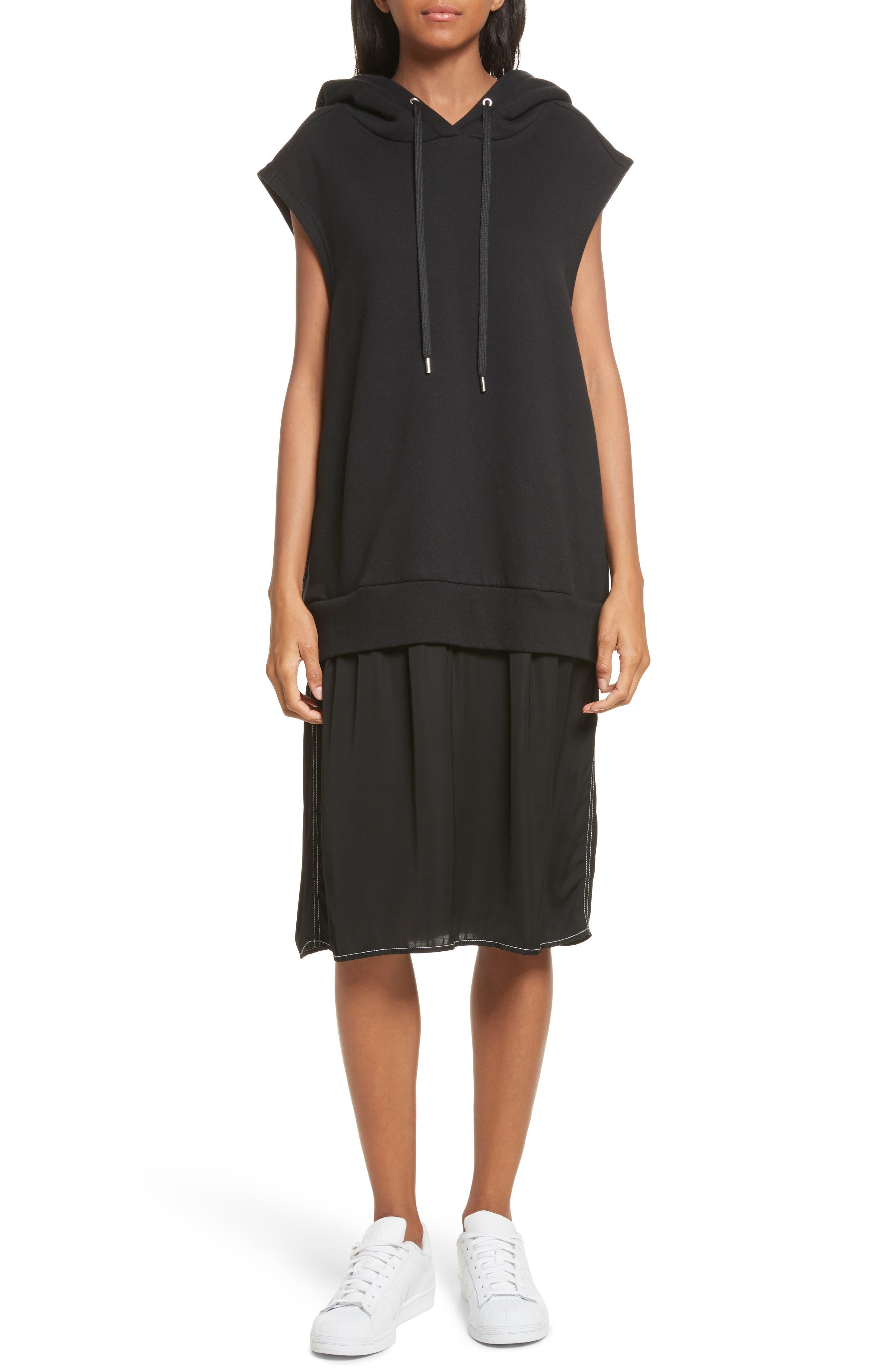 Allison Cotton Hoodie Dress,                         Main,                         color, Black