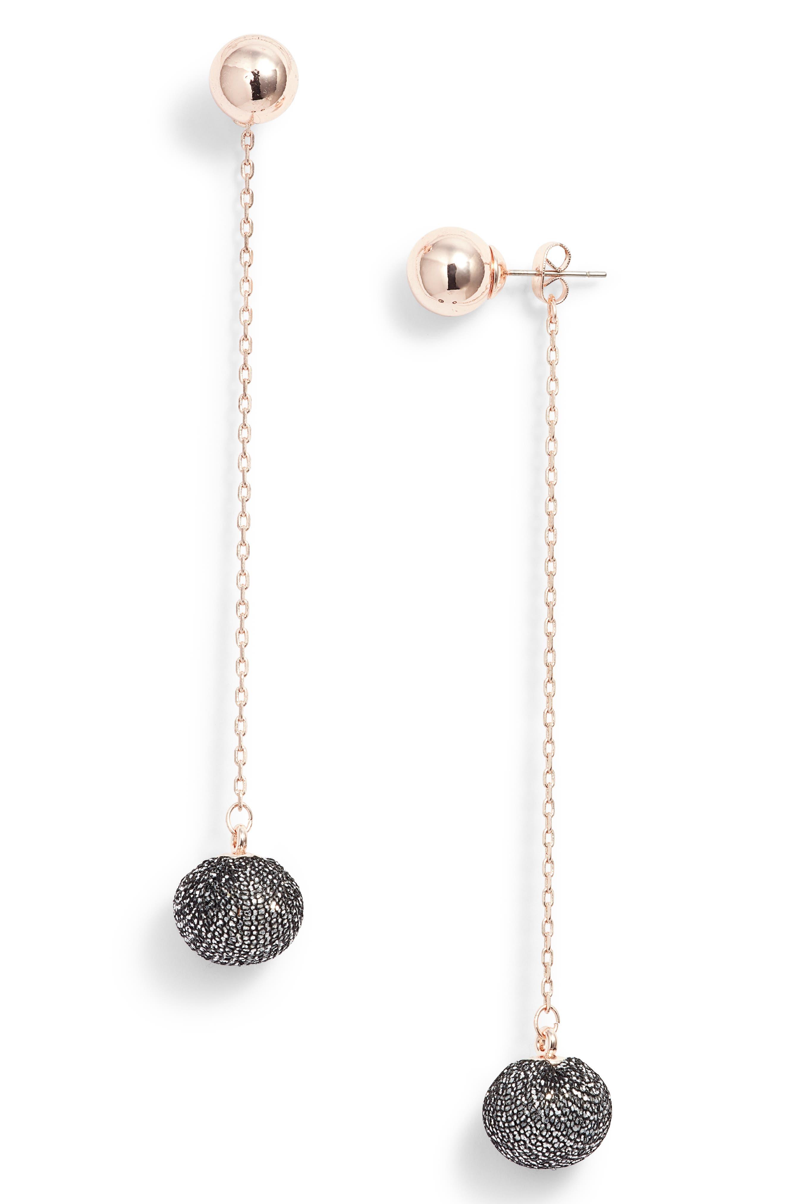 High Shine Pompom Drop Earrings,                             Main thumbnail 1, color,                             Rose Gold