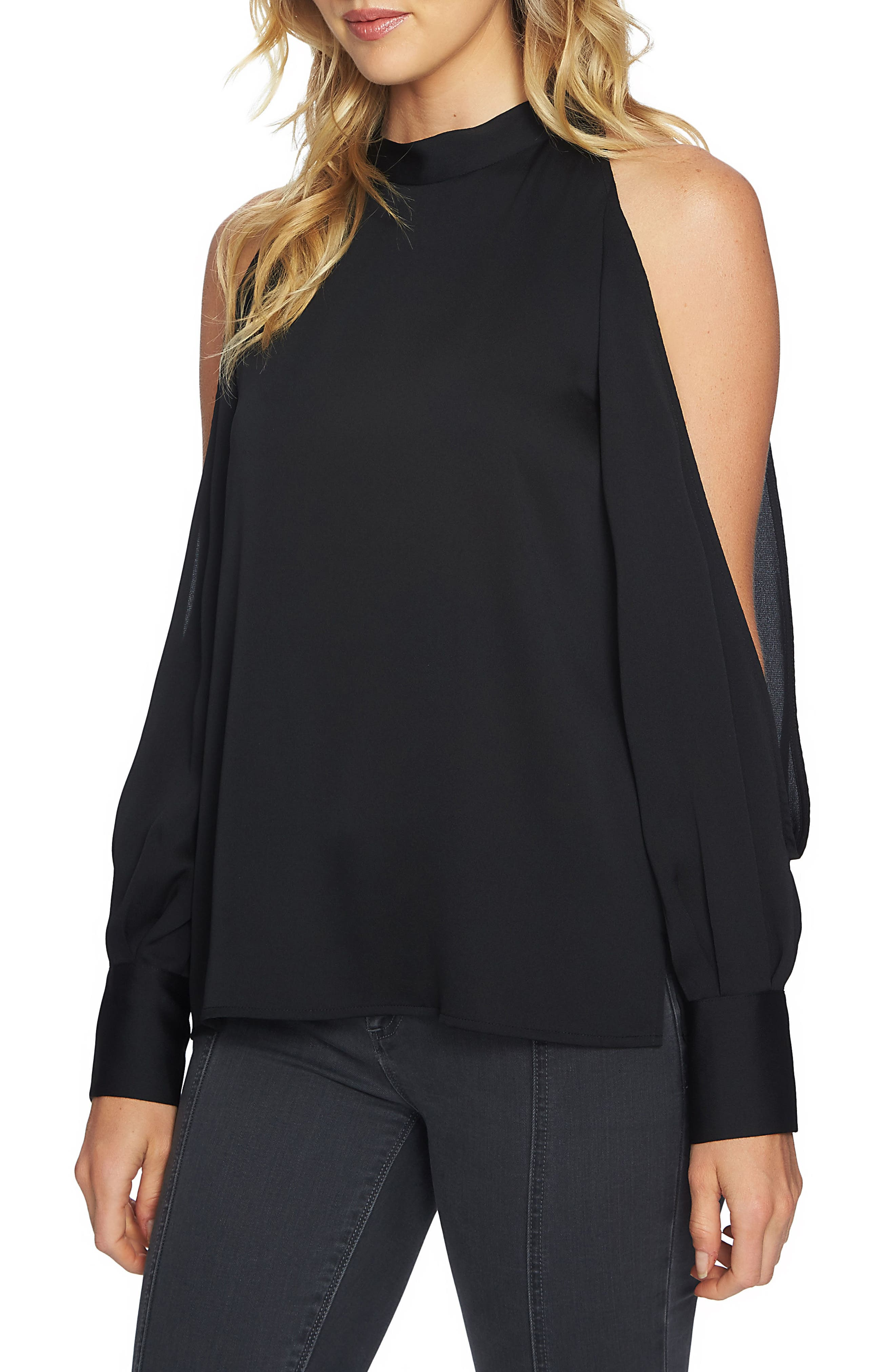 Cold Shoulder Top,                             Main thumbnail 1, color,                             060-Rich Black