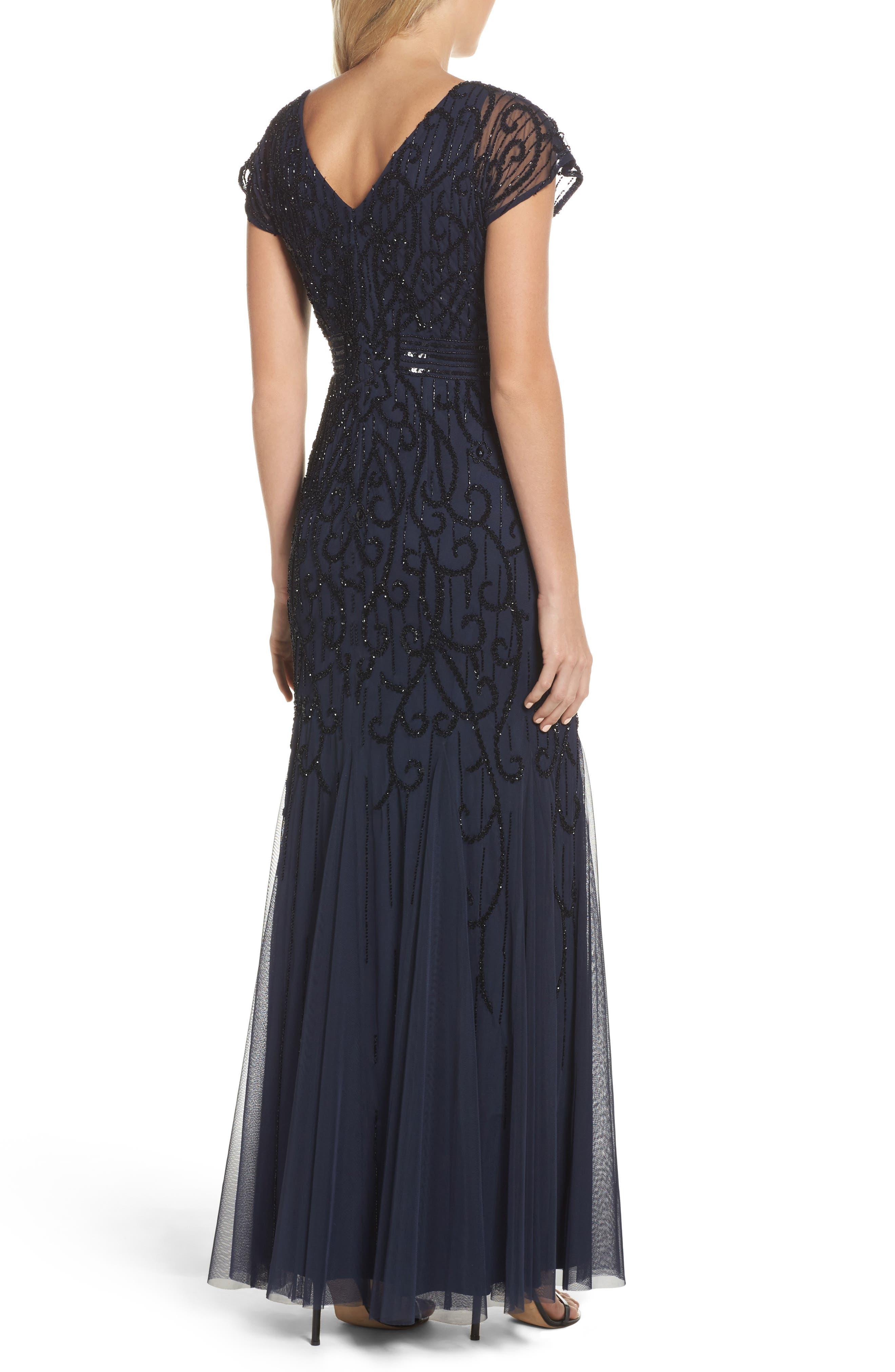Alternate Image 2  - Adrianna Papell Beaded Mesh Godet Gown