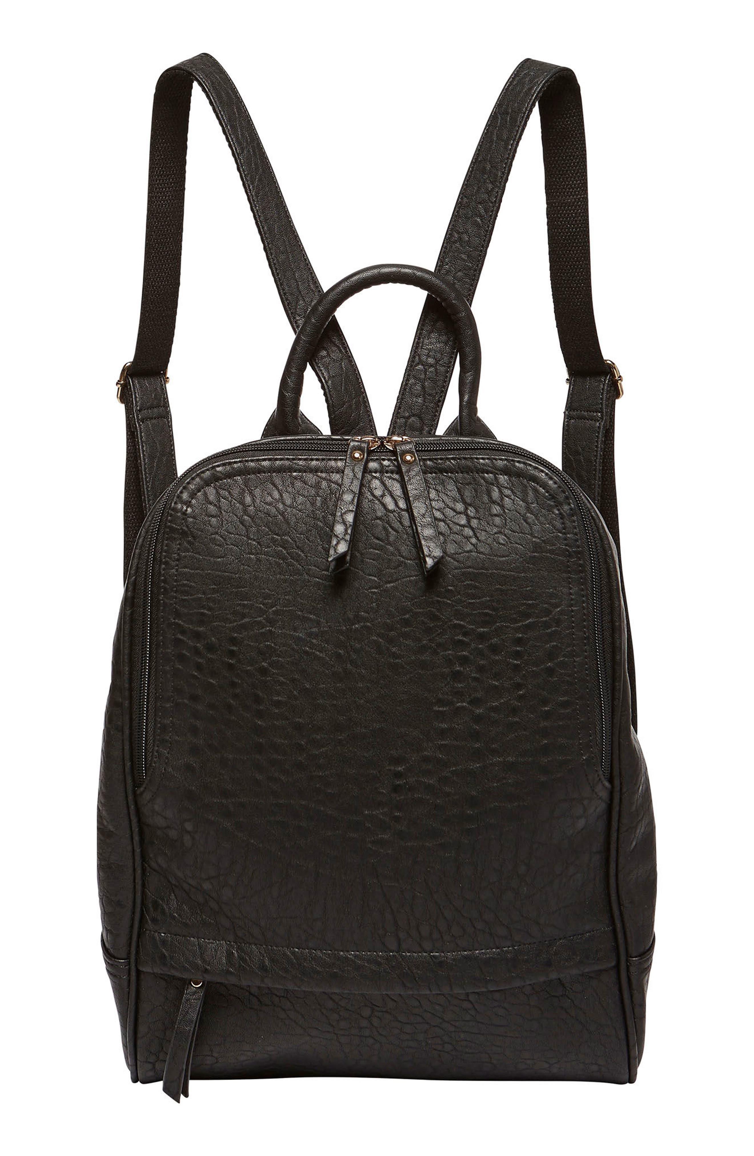 My Way Vegan Leather Backpack,                             Main thumbnail 1, color,                             Black