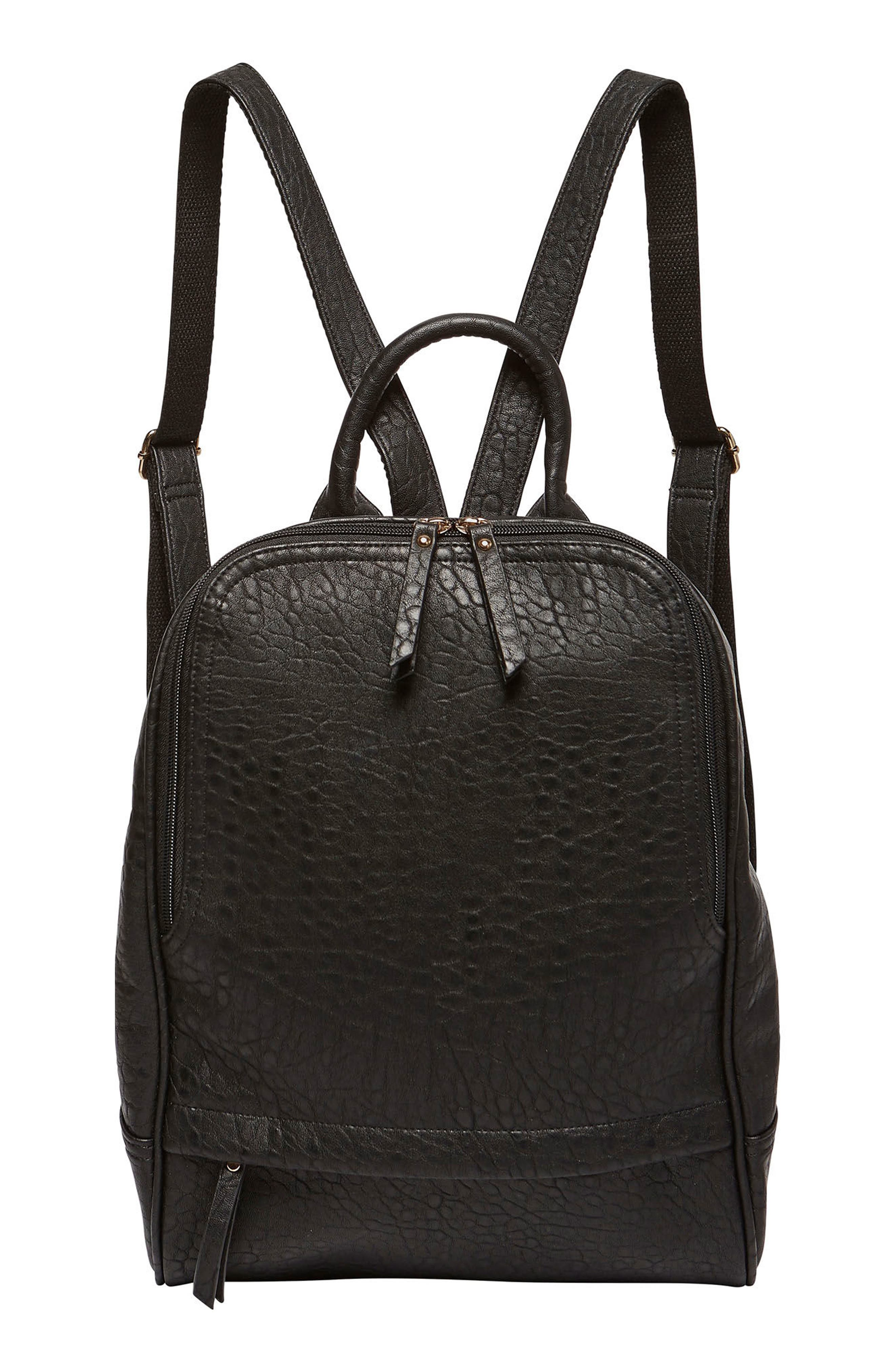 My Way Vegan Leather Backpack,                         Main,                         color, Black