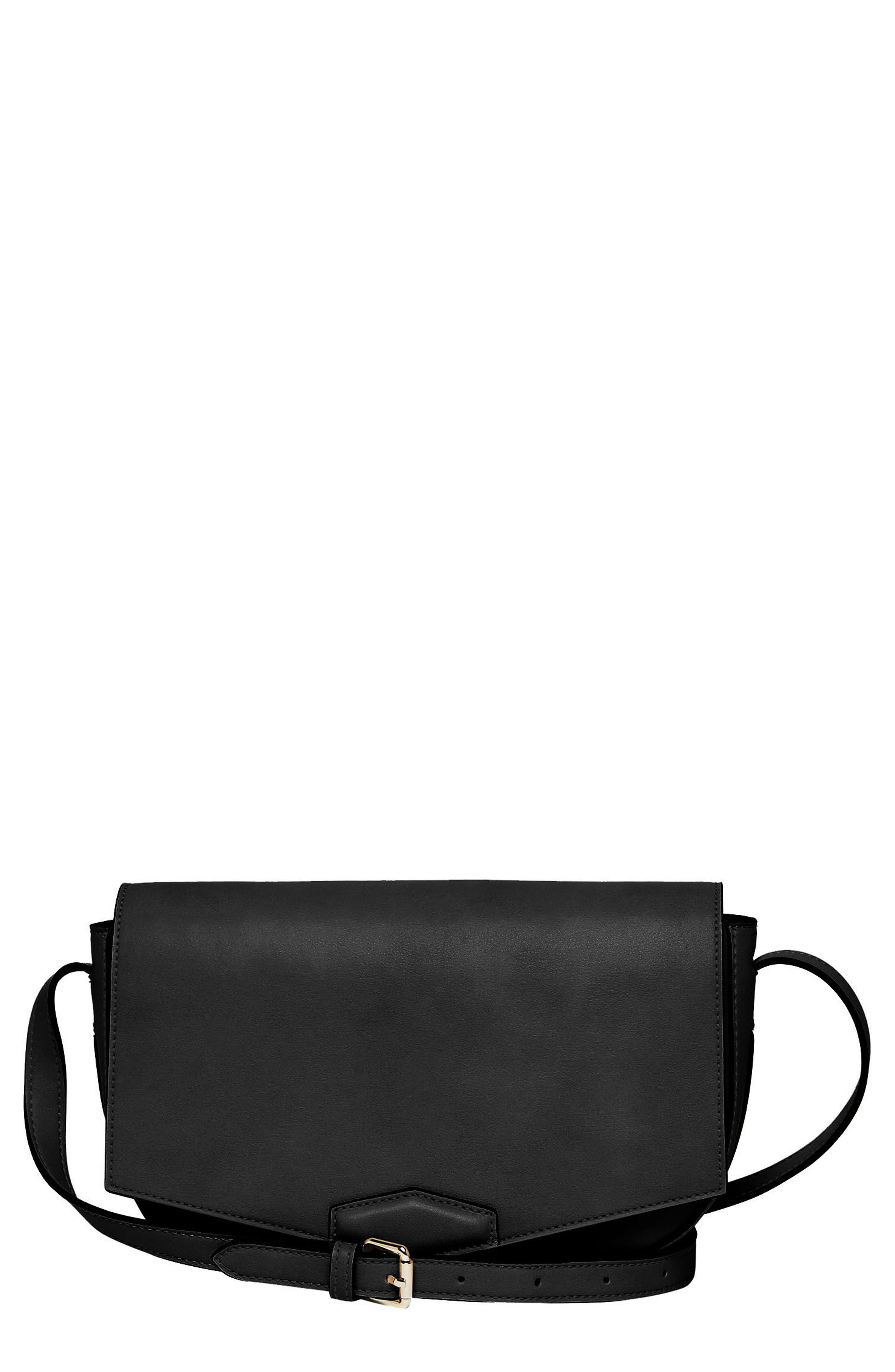 Loved Vegan Leather Crossbody Bag,                             Main thumbnail 1, color,                             Black