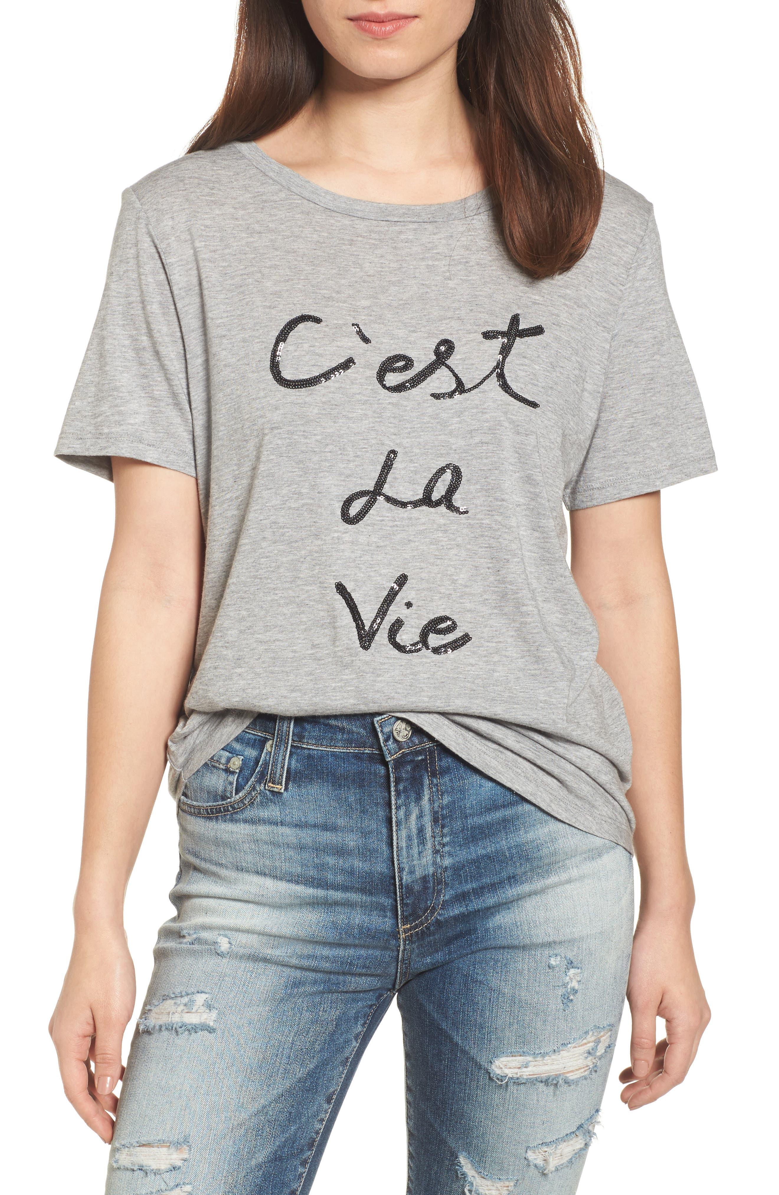 C'est la Vie Tee,                         Main,                         color, Grey