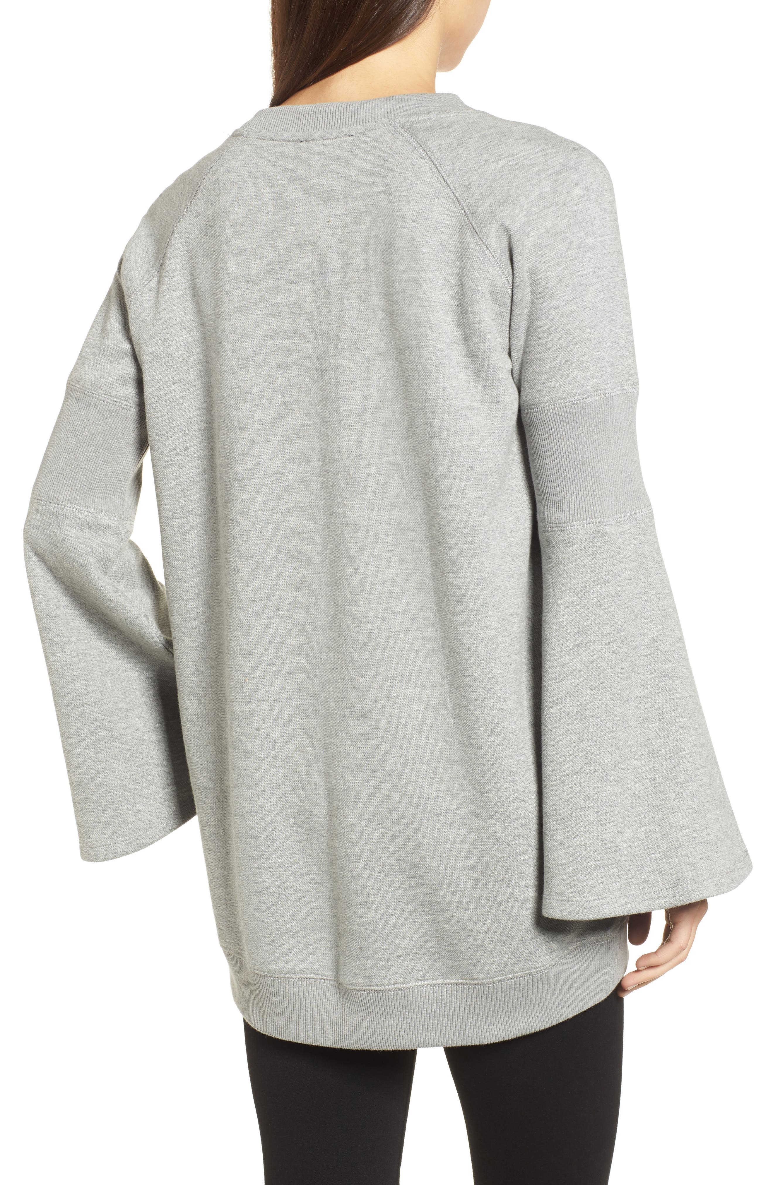 Bell Sleeve Ribbed Sweatshirt,                             Alternate thumbnail 2, color,                             Heather Gray Bros