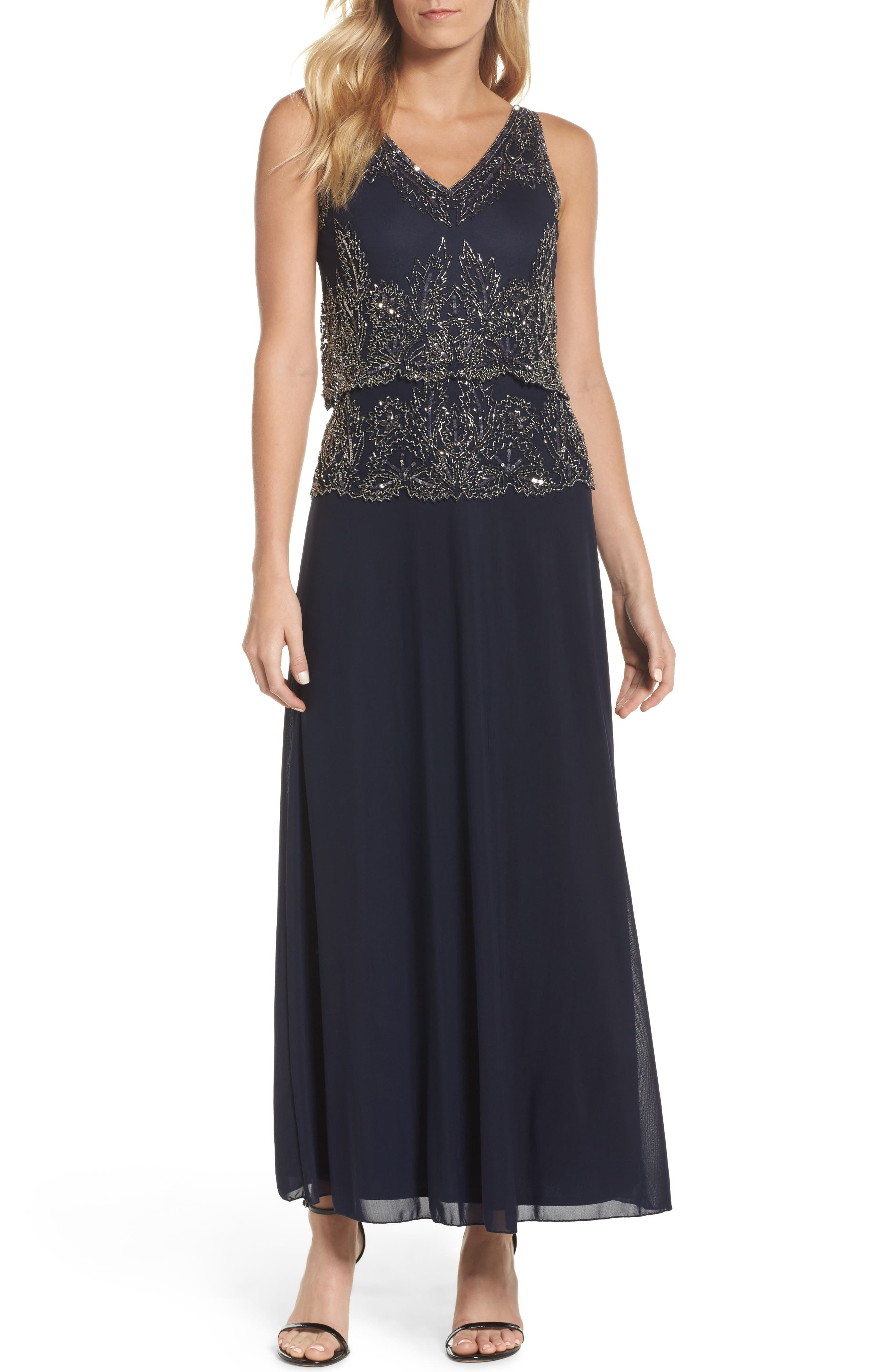 Beaded Tiered Popover Gown,                             Main thumbnail 1, color,                             Navy/ Merc