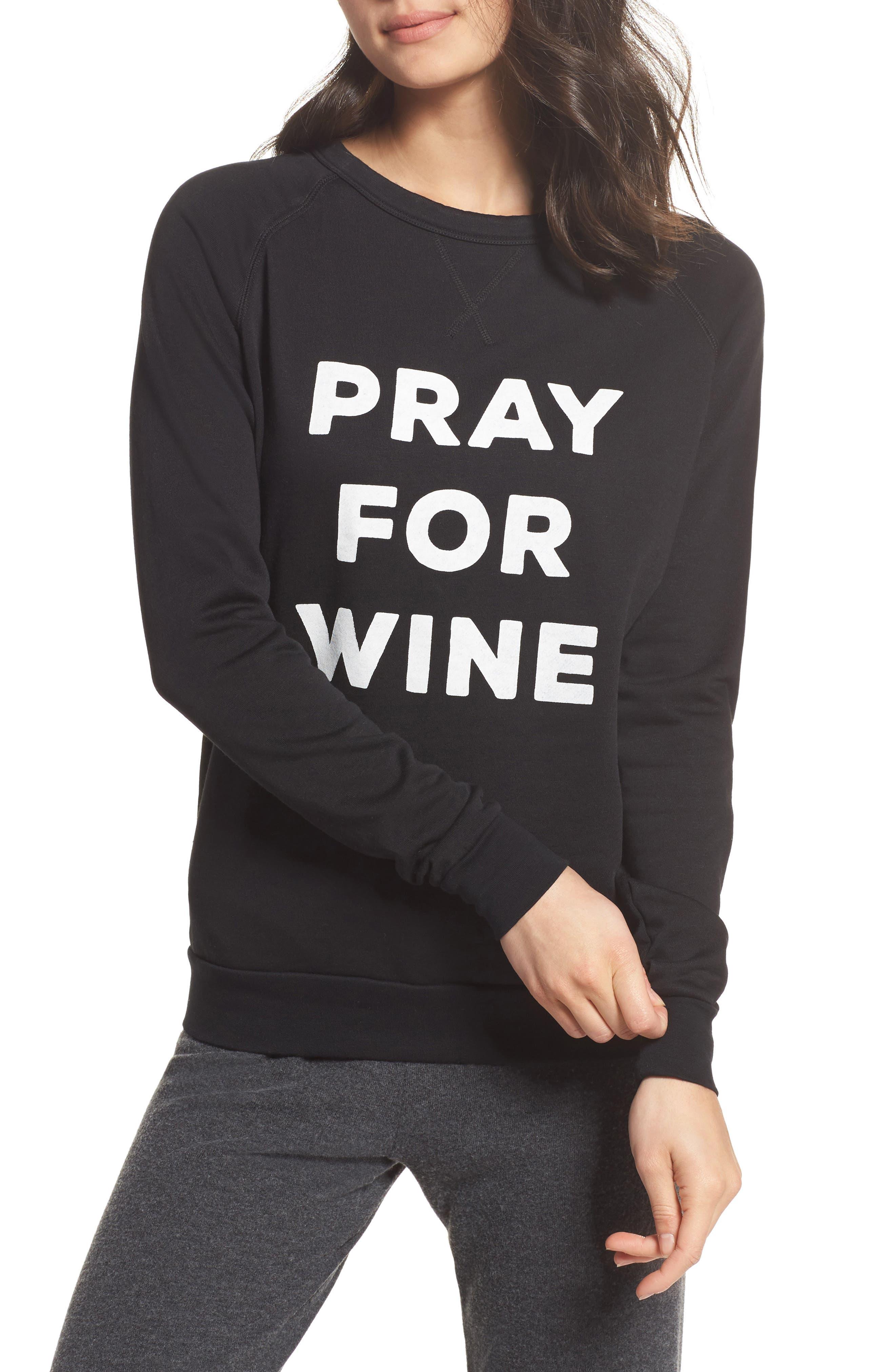Pray For Wine Sweatshirt,                             Main thumbnail 1, color,                             Black