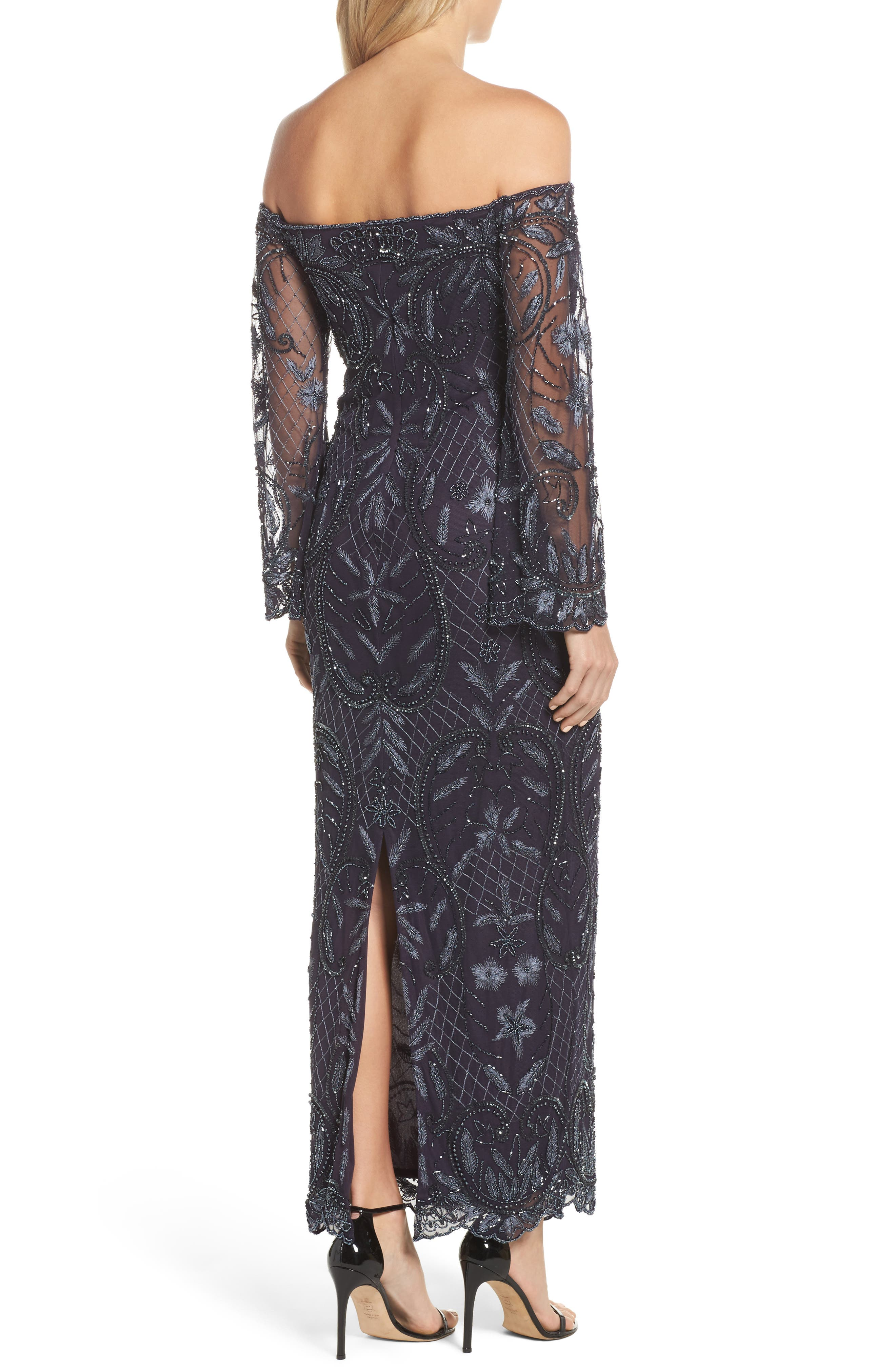 Embellished Off the Shoulder Column Gown,                             Alternate thumbnail 2, color,                             Slate