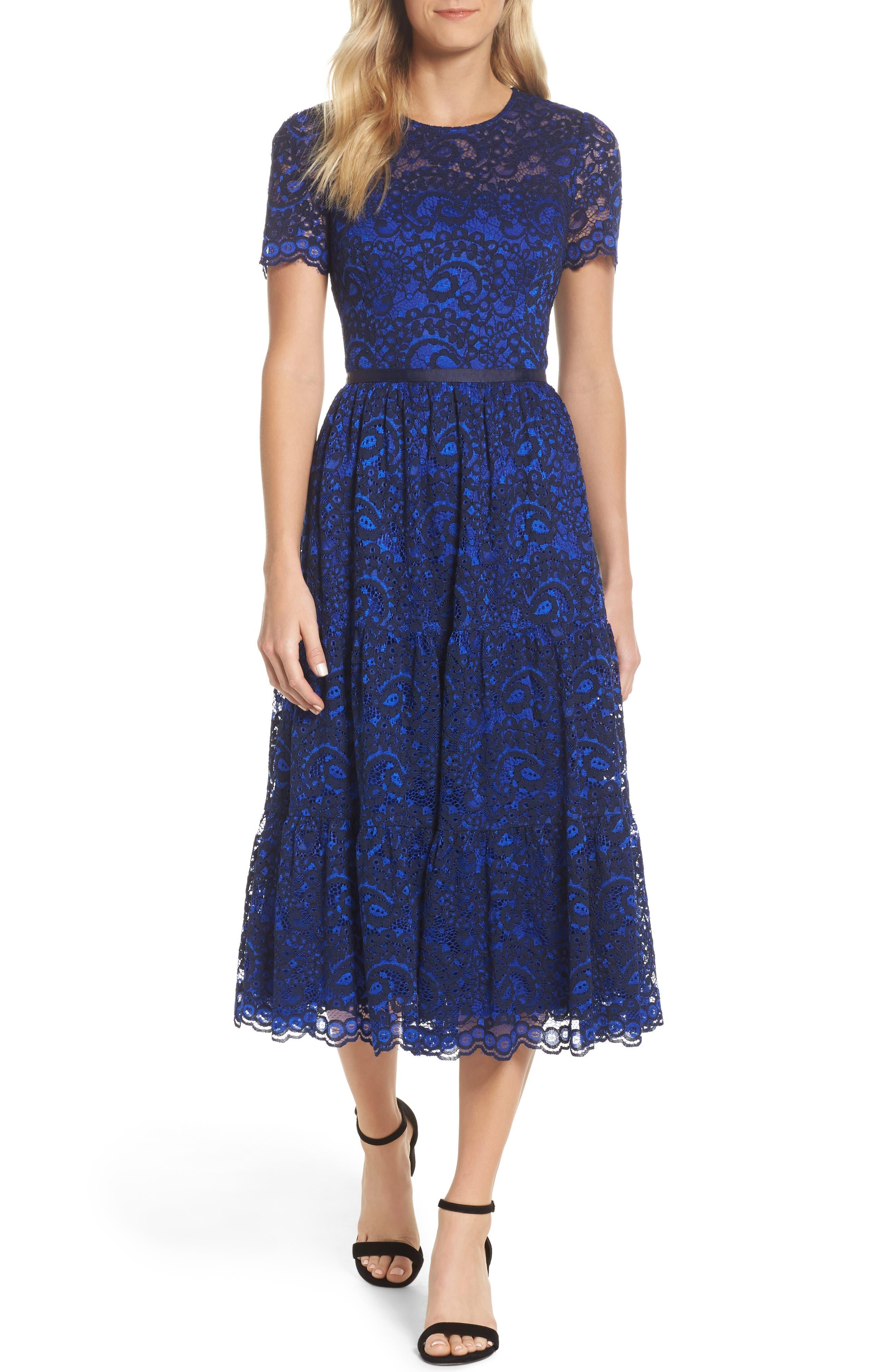 Lace Midi Dress,                         Main,                         color, Cobalt/ Navy