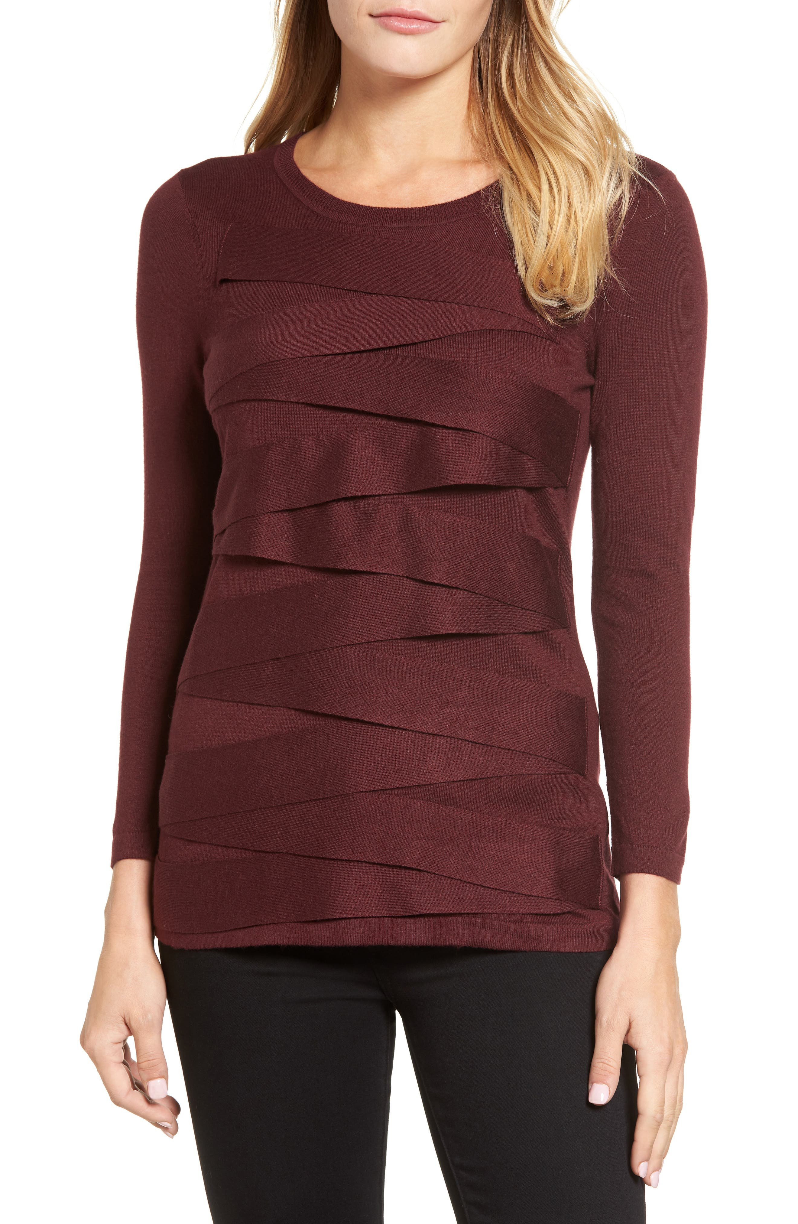 Zigzag Sweater,                         Main,                         color, Deep Claret