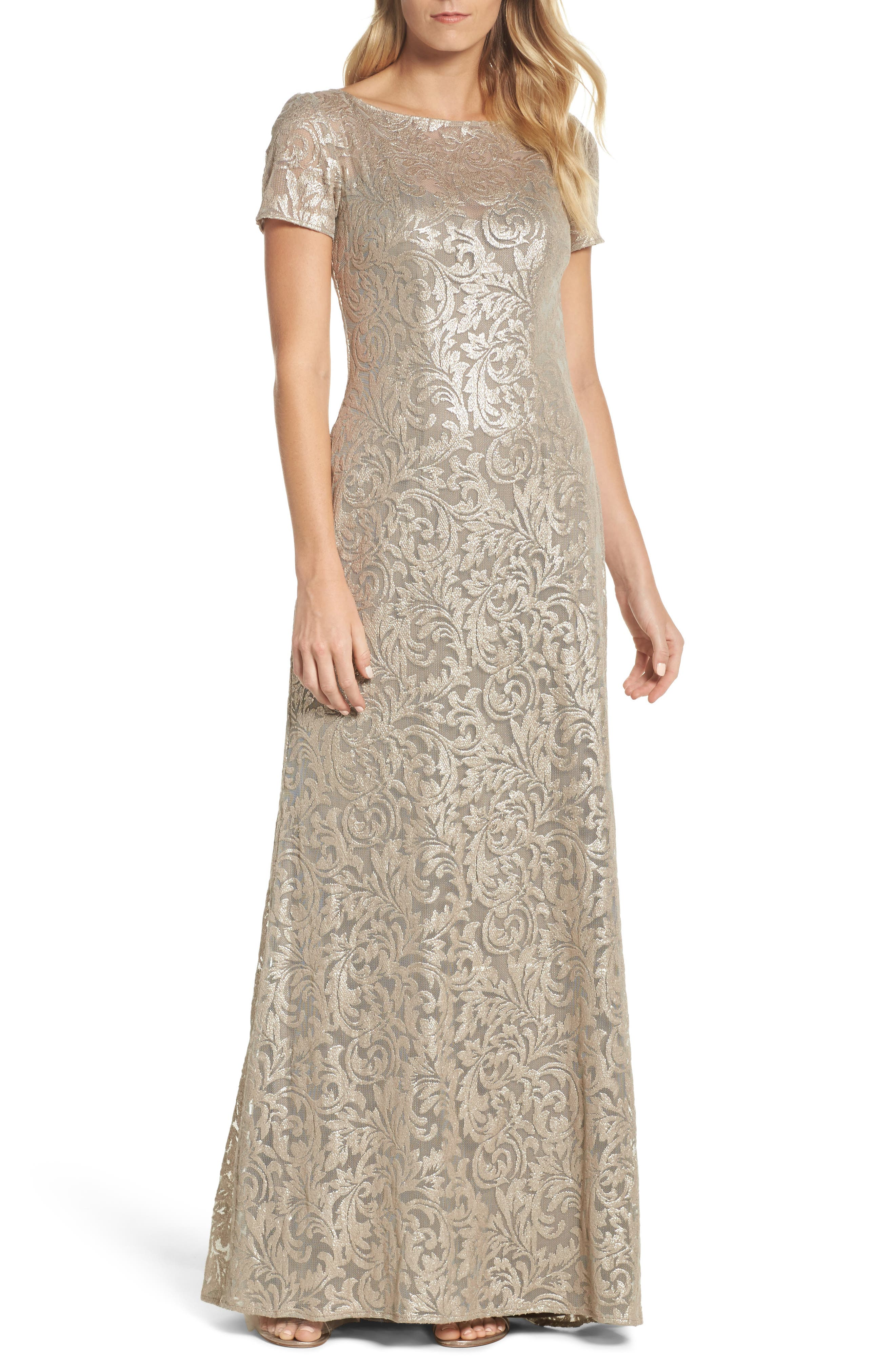 Shimmer Jacquard Gown,                         Main,                         color, Light Gold