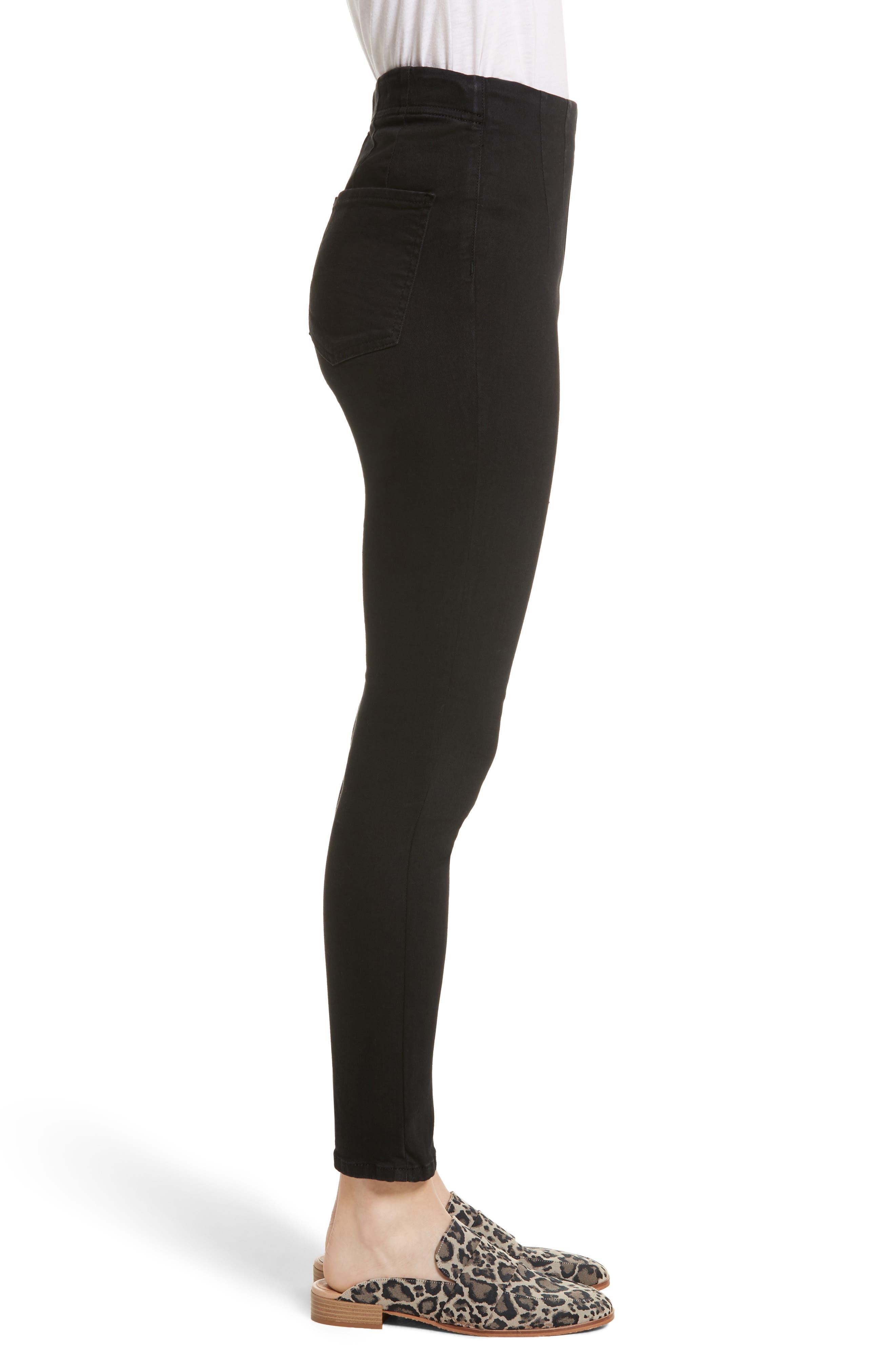 High Waist Ankle Skinny Pants,                             Alternate thumbnail 3, color,                             Black