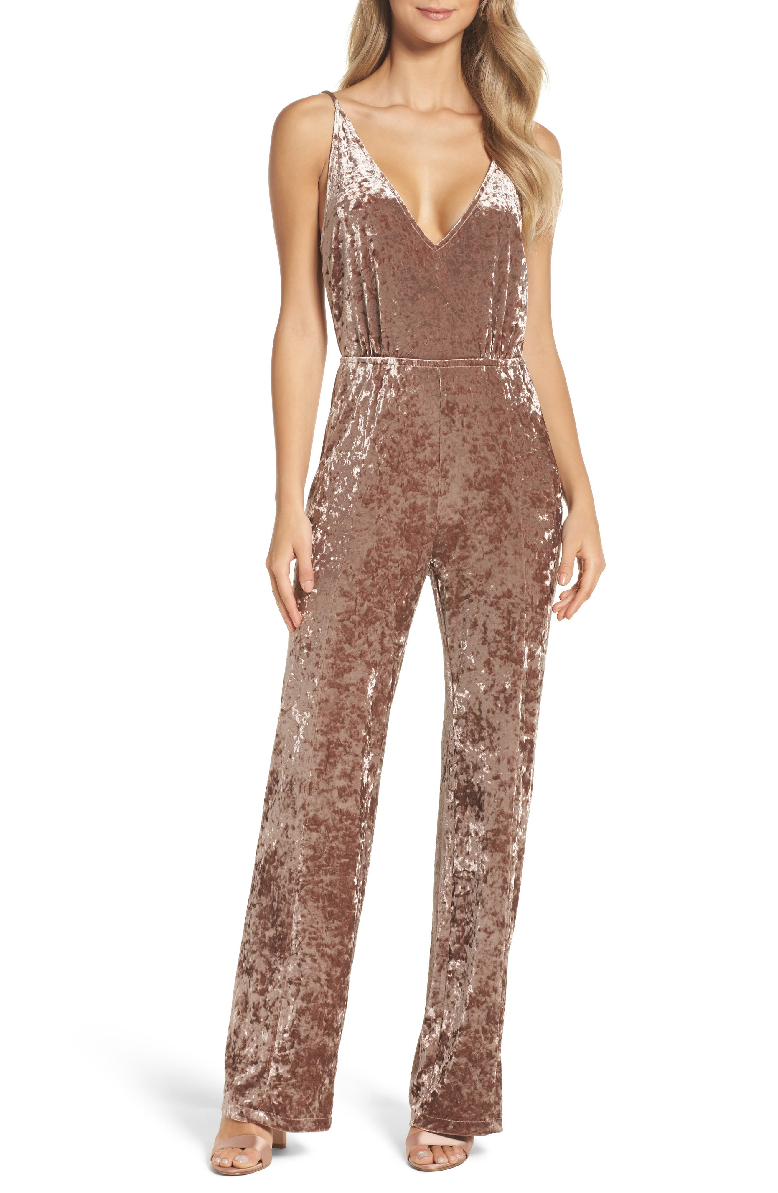Cassandra Velvet Jumpsuit,                         Main,                         color, Antique Rose