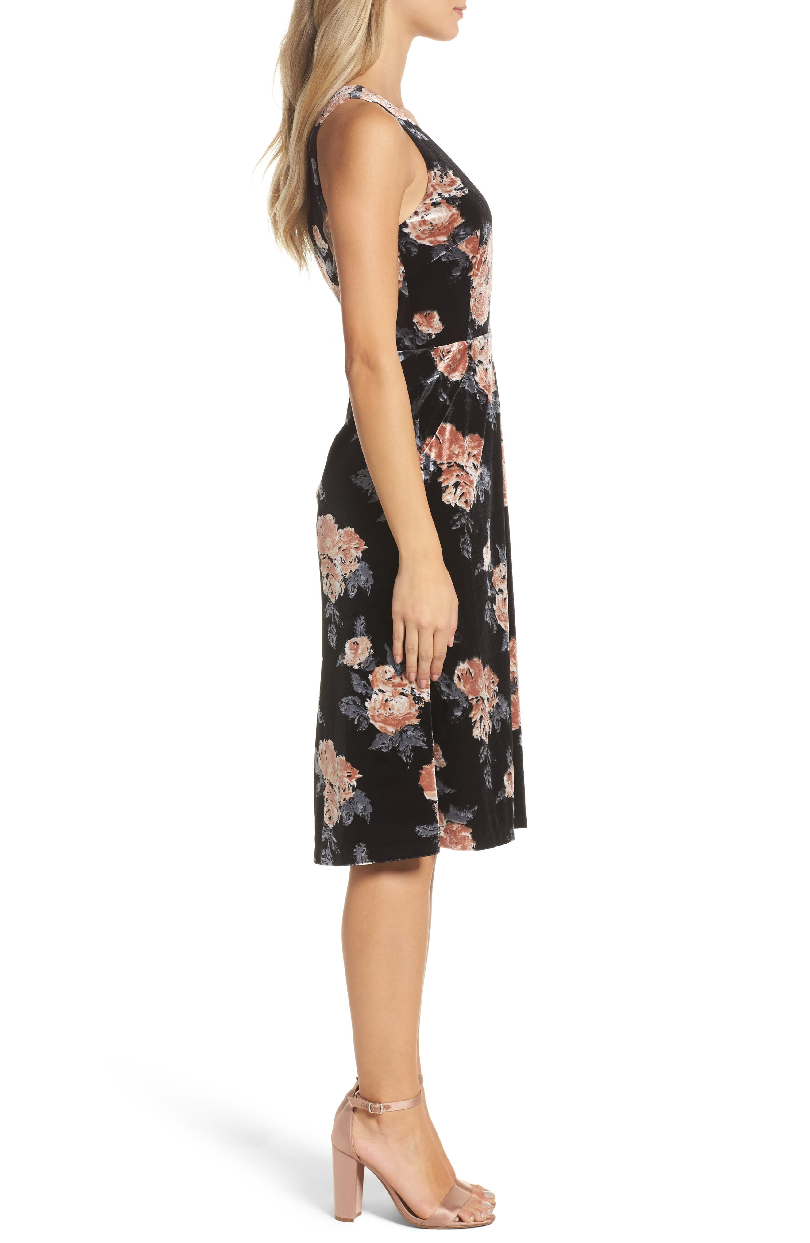 Costes Velvet Fit & Flare Dress,                             Alternate thumbnail 4, color,                             Black Rosettes
