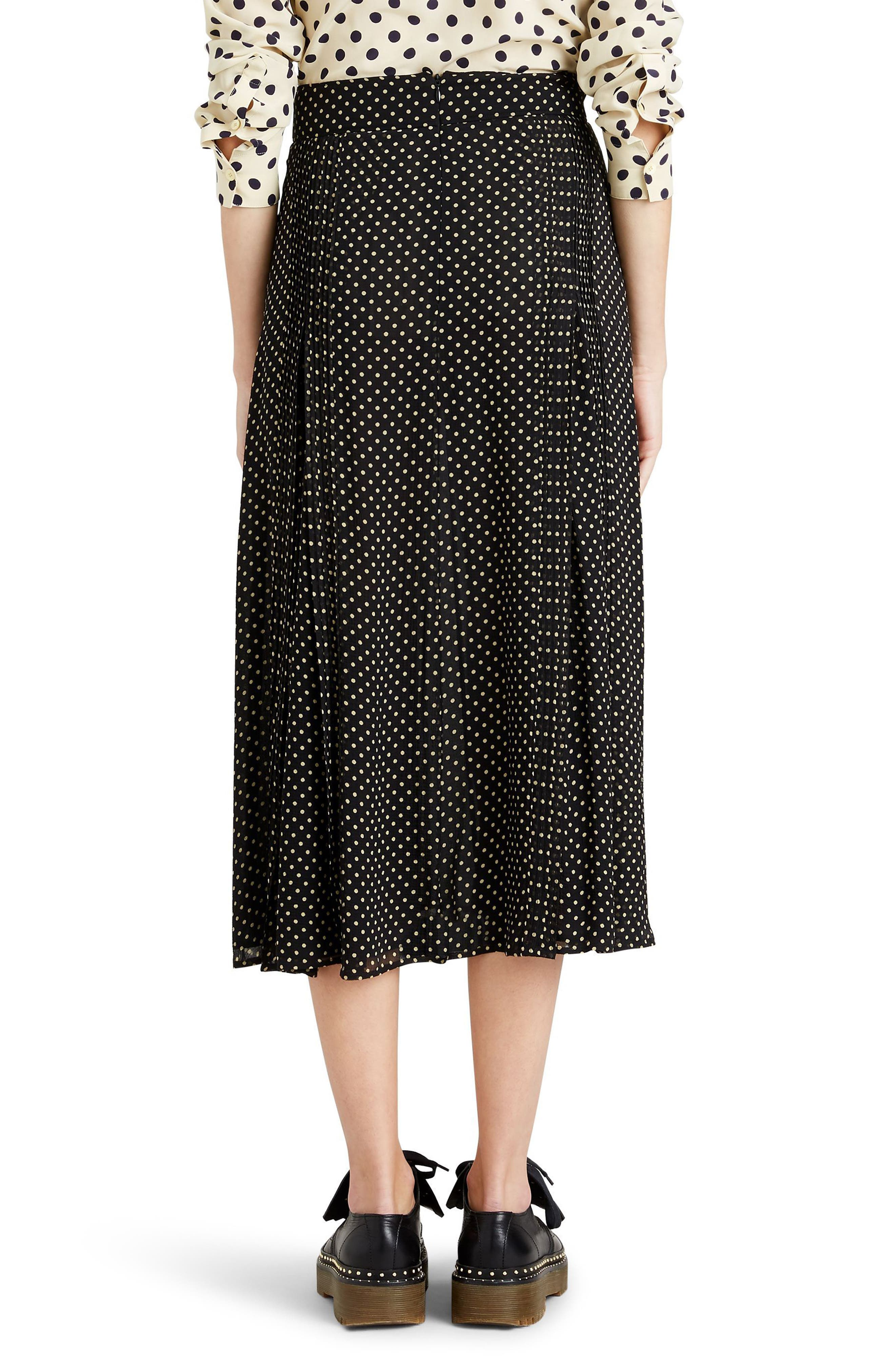 Fine Pintuck Dot Print Silk Skirt,                             Alternate thumbnail 2, color,                             Black
