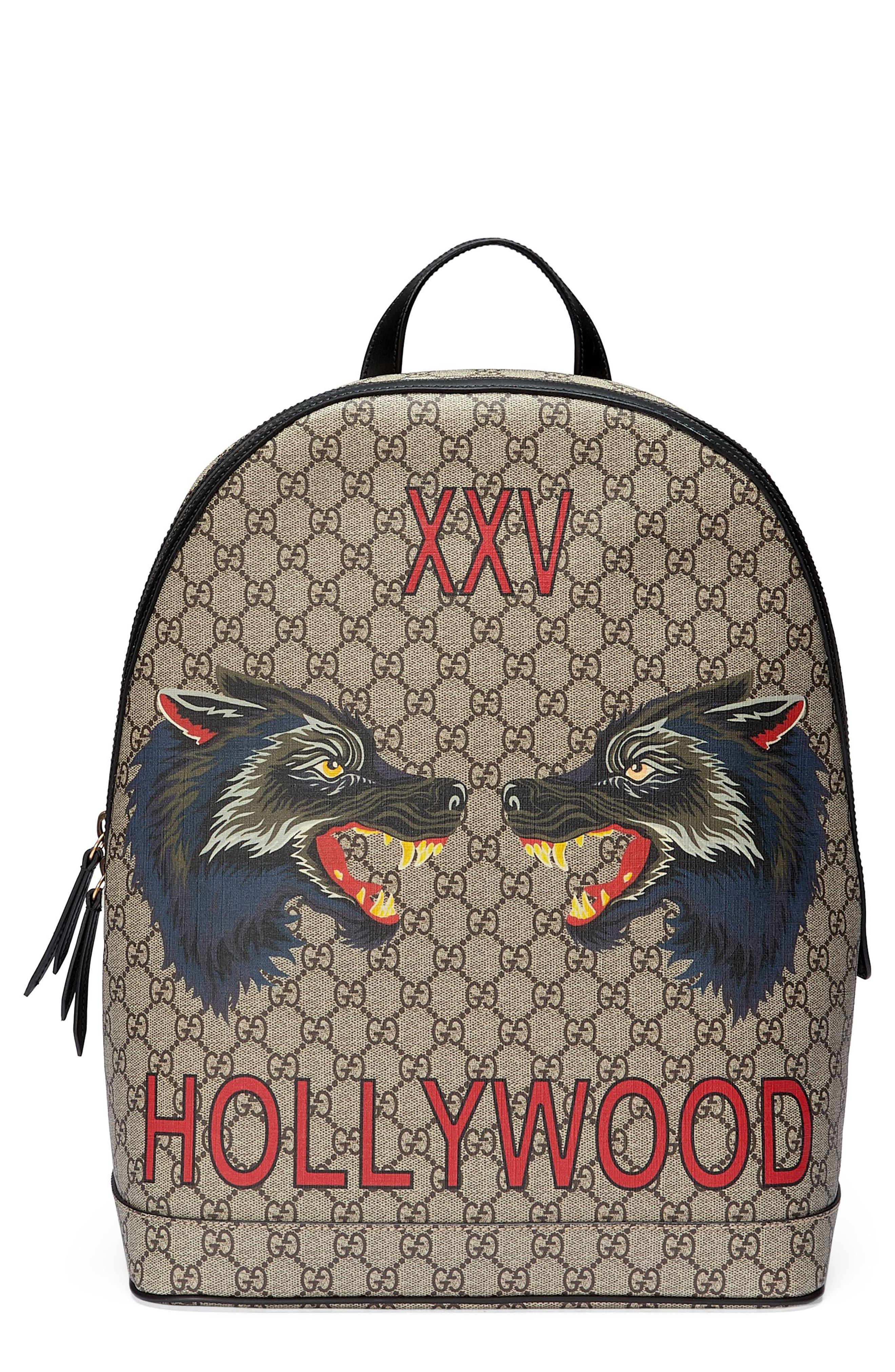 Gucci Wolf Print GG Supreme Backpack