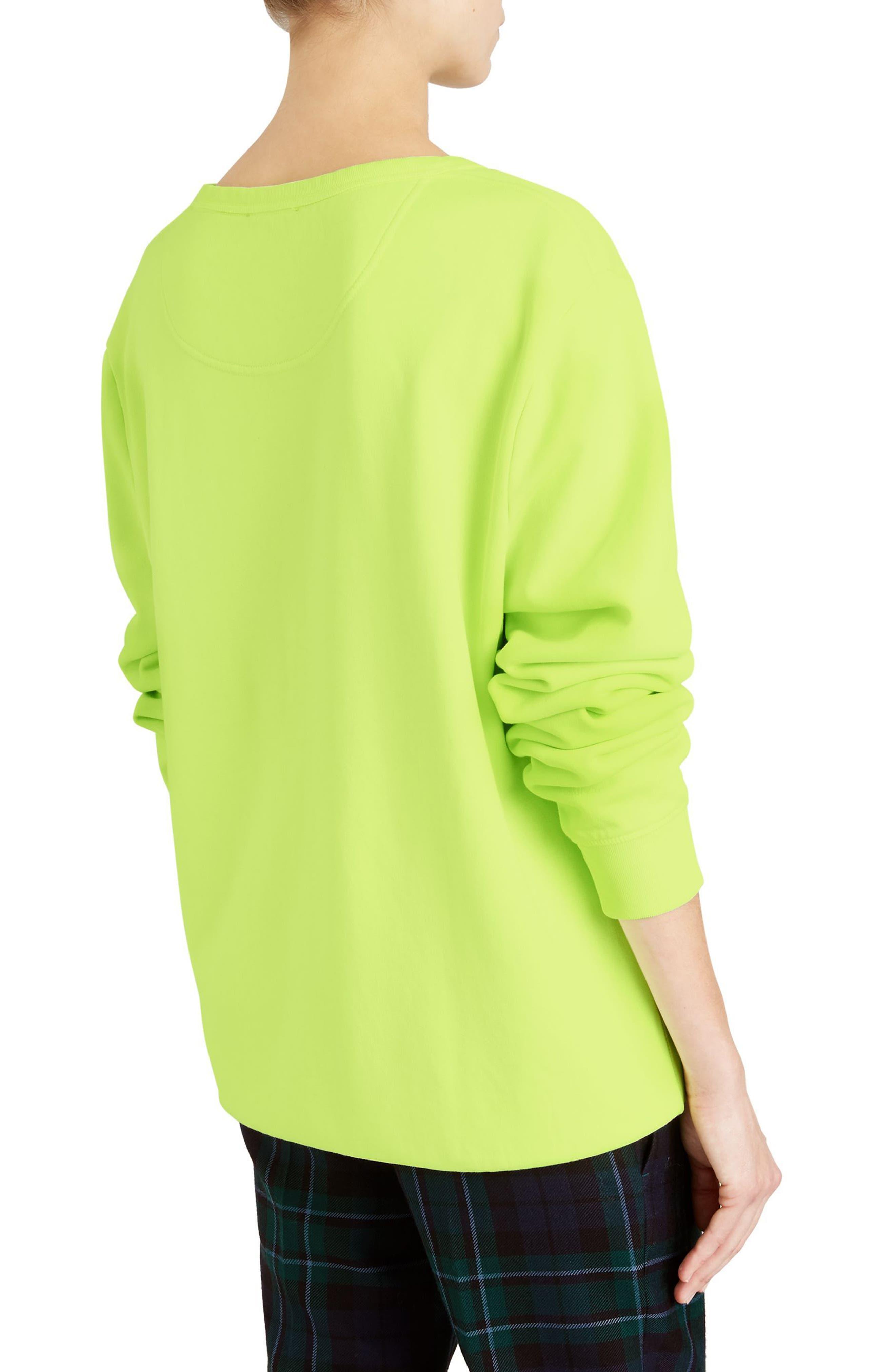 Sauer Doodle Print Cotton Sweatshirt,                             Alternate thumbnail 2, color,                             Fluorescent Yellow