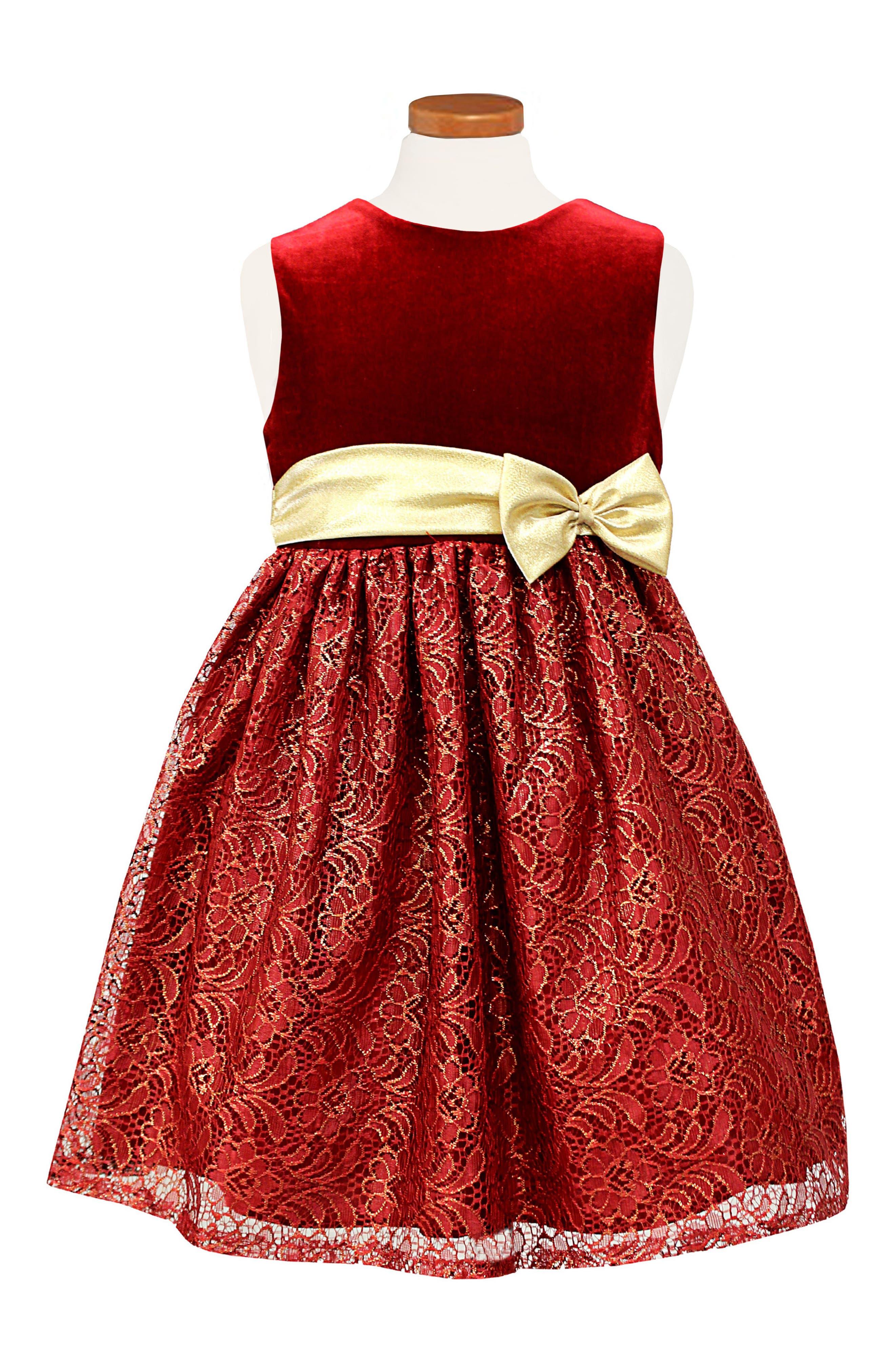 Velvet & Lace Party Dress,                         Main,                         color, Red