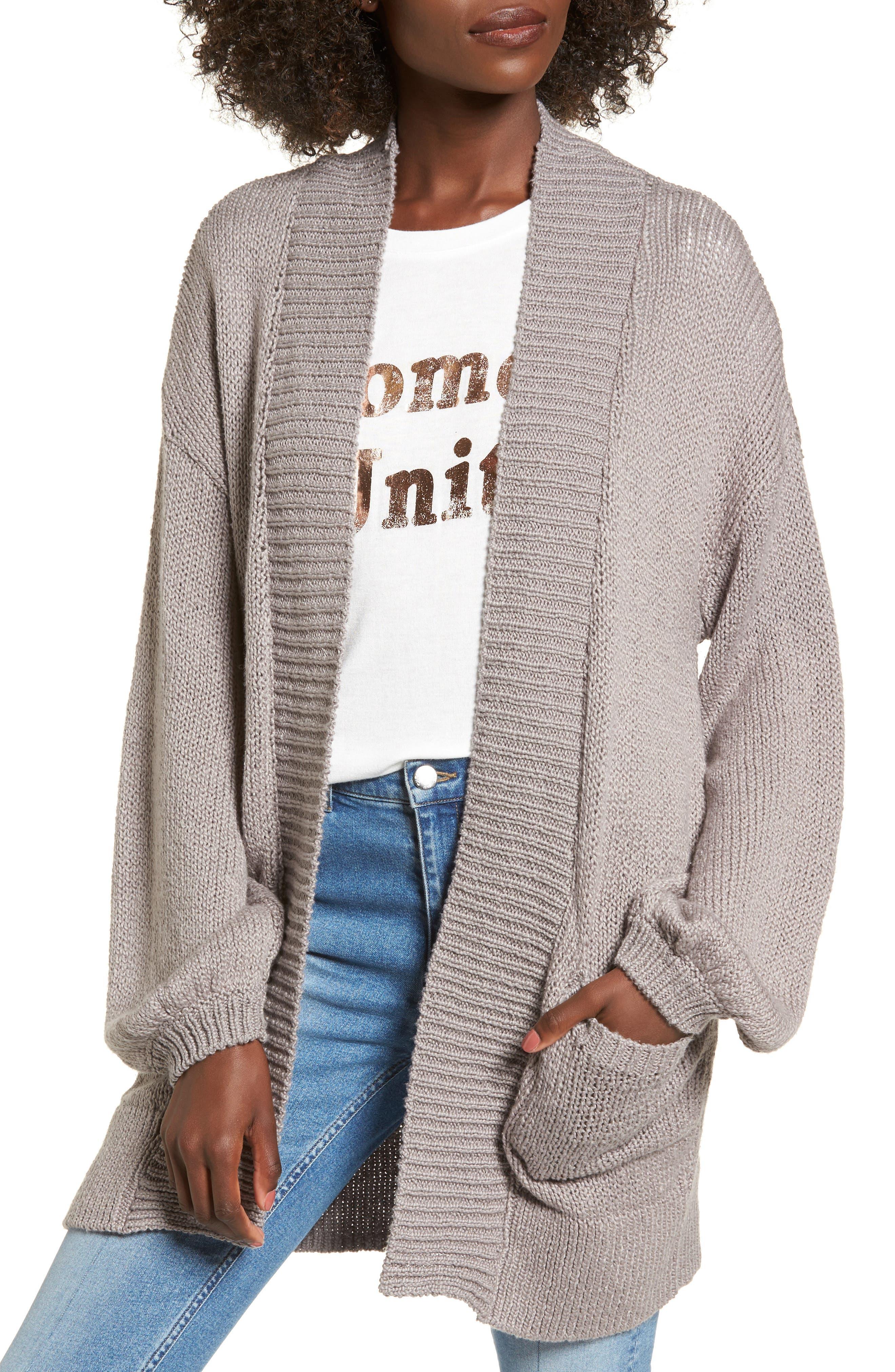 Blouson Sleeve Knit Cardigan,                         Main,                         color, Grey Cloudburst