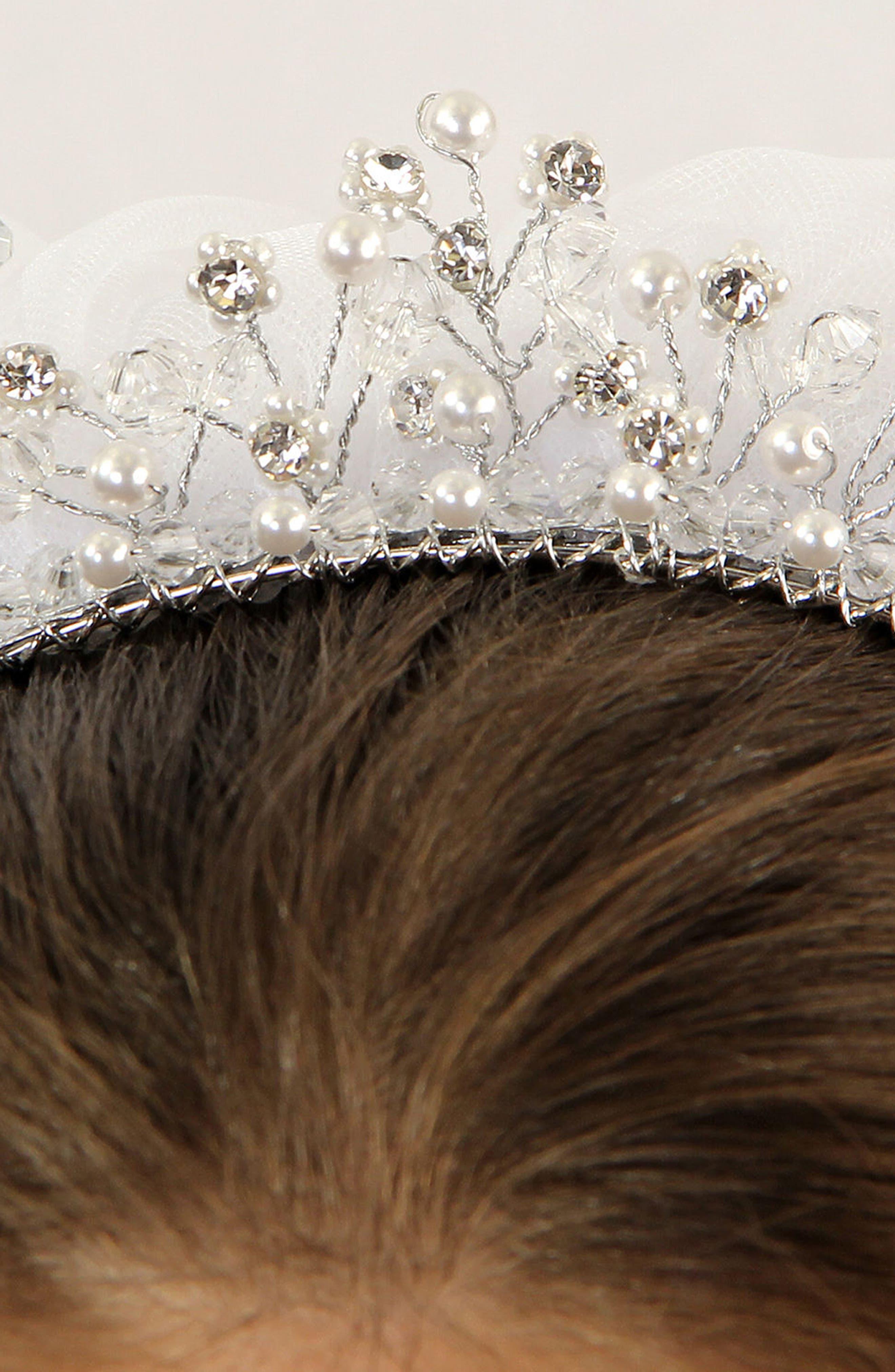 Imitation Pearl Crown & Veil,                             Alternate thumbnail 4, color,                             White