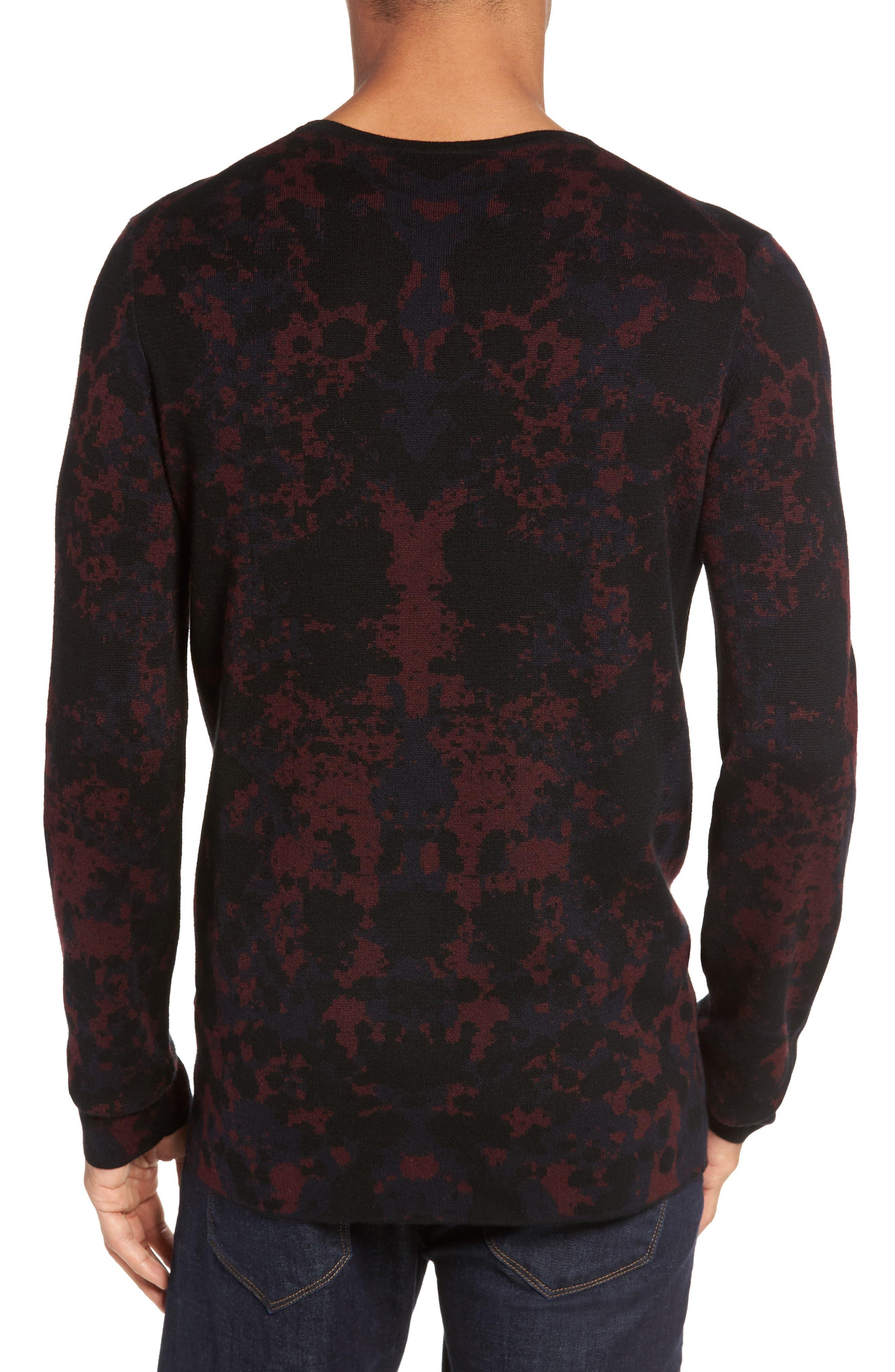 HUGO Sorach Print Slim Fit Sweater,                             Alternate thumbnail 2, color,                             Red