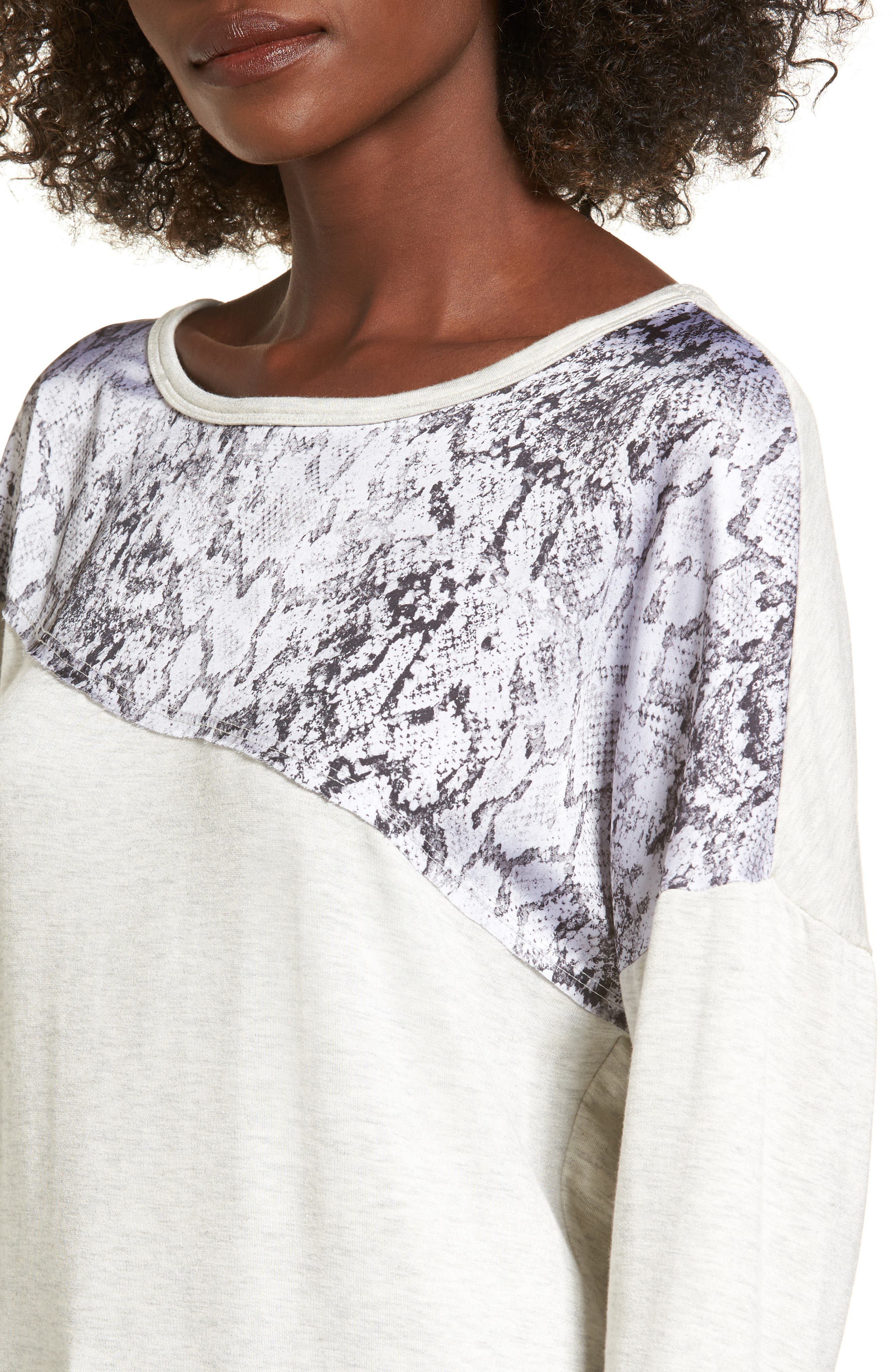 Snake Print Sweatshirt,                             Alternate thumbnail 4, color,                             Light Grey