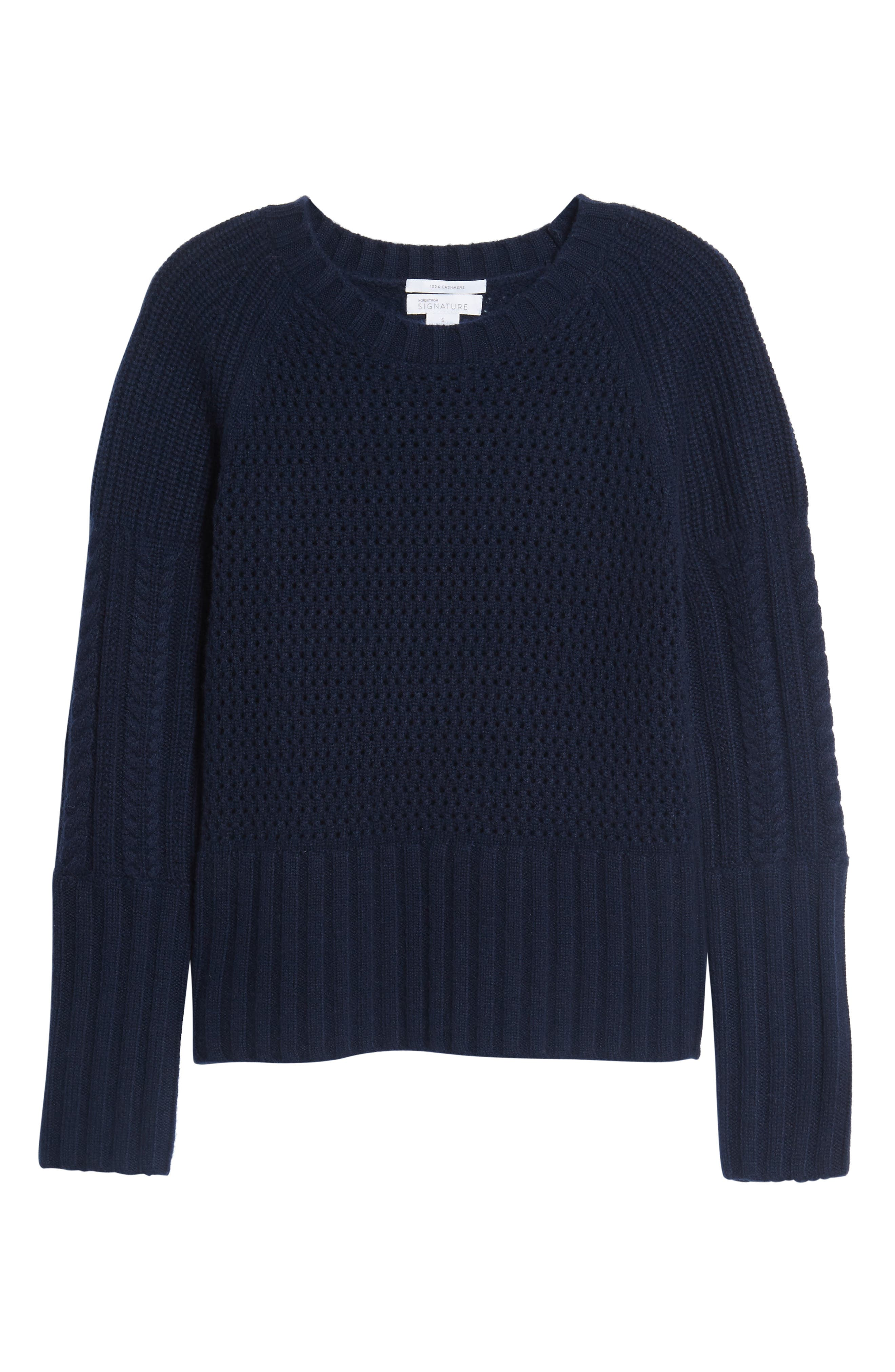 Mixed Stitch Cashmere Sweater,                             Alternate thumbnail 6, color,                             Navy Medieval