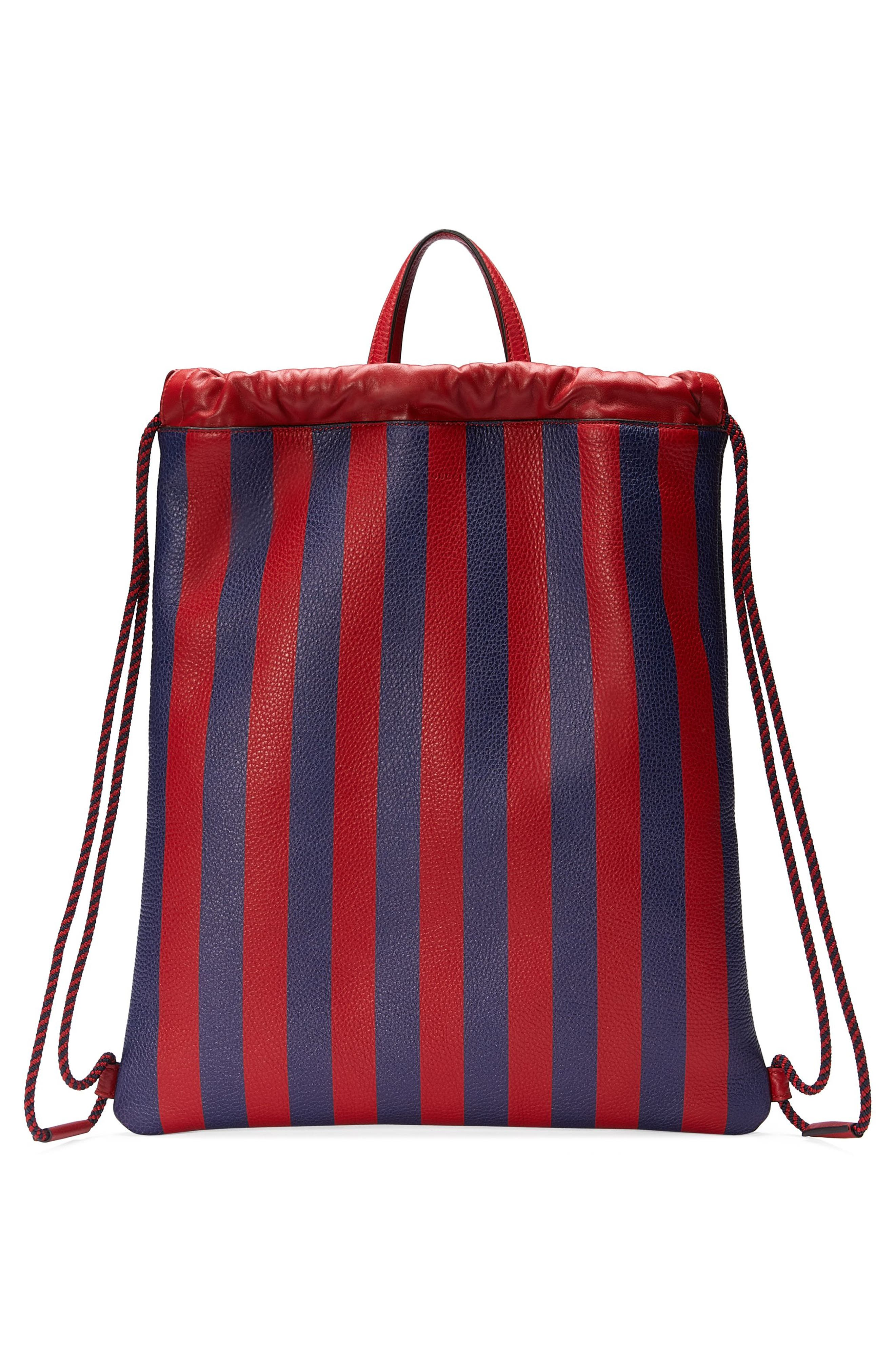 Alternate Image 2  - Gucci Kingsnake Stripe Leather Drawstring Backpack