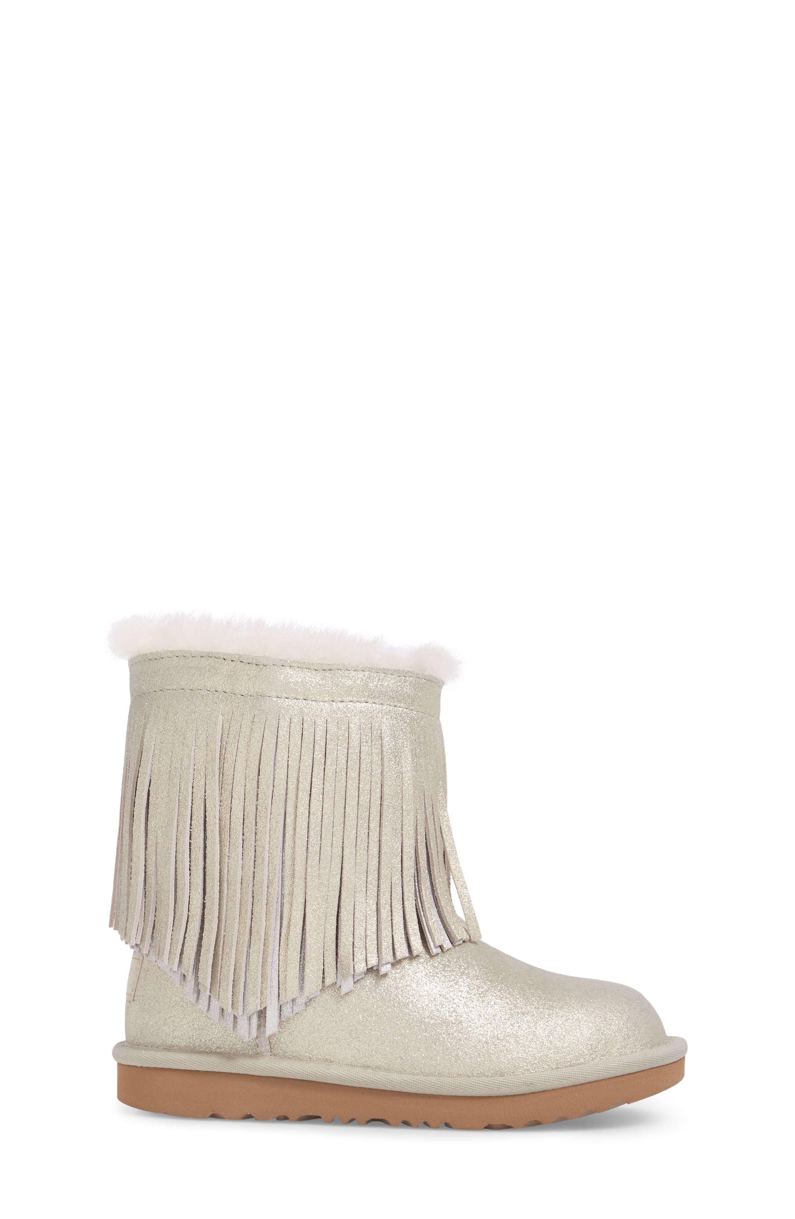 Classic Short II Genuine Shearling Metallic Fringe Bootie,                             Alternate thumbnail 3, color,                             Gold
