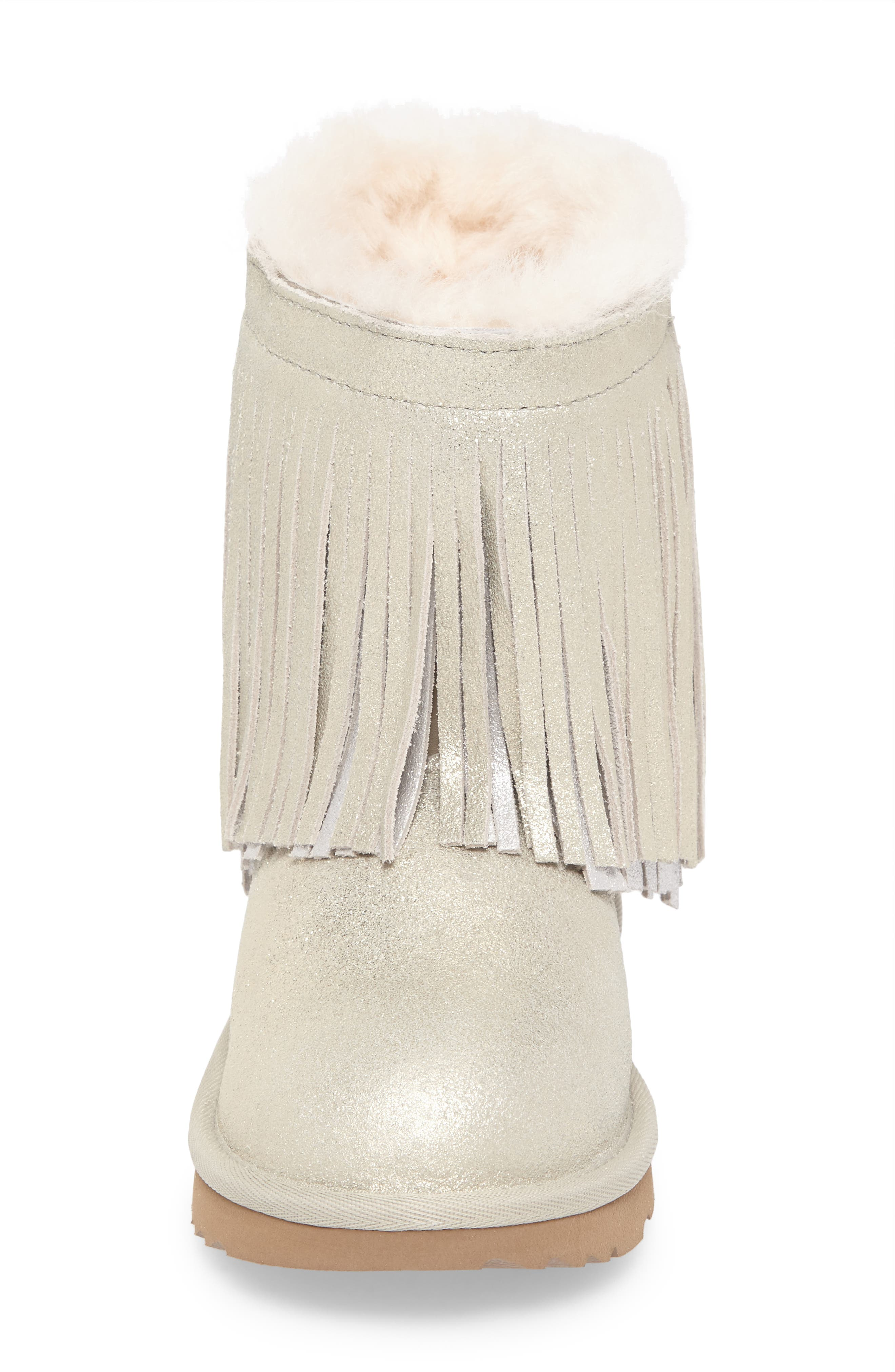 Classic Short II Genuine Shearling Metallic Fringe Bootie,                             Alternate thumbnail 4, color,                             Gold