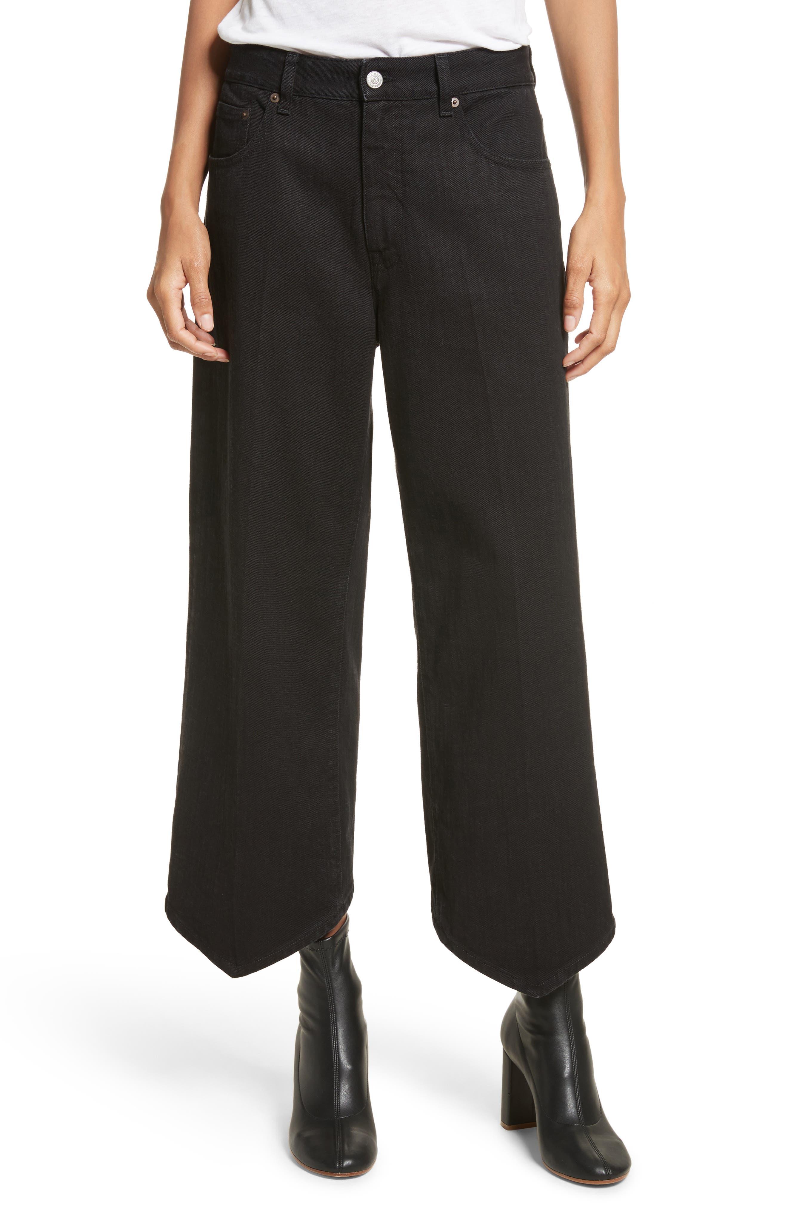 Just Wash Point Hem Wide Leg Jeans,                         Main,                         color, Black