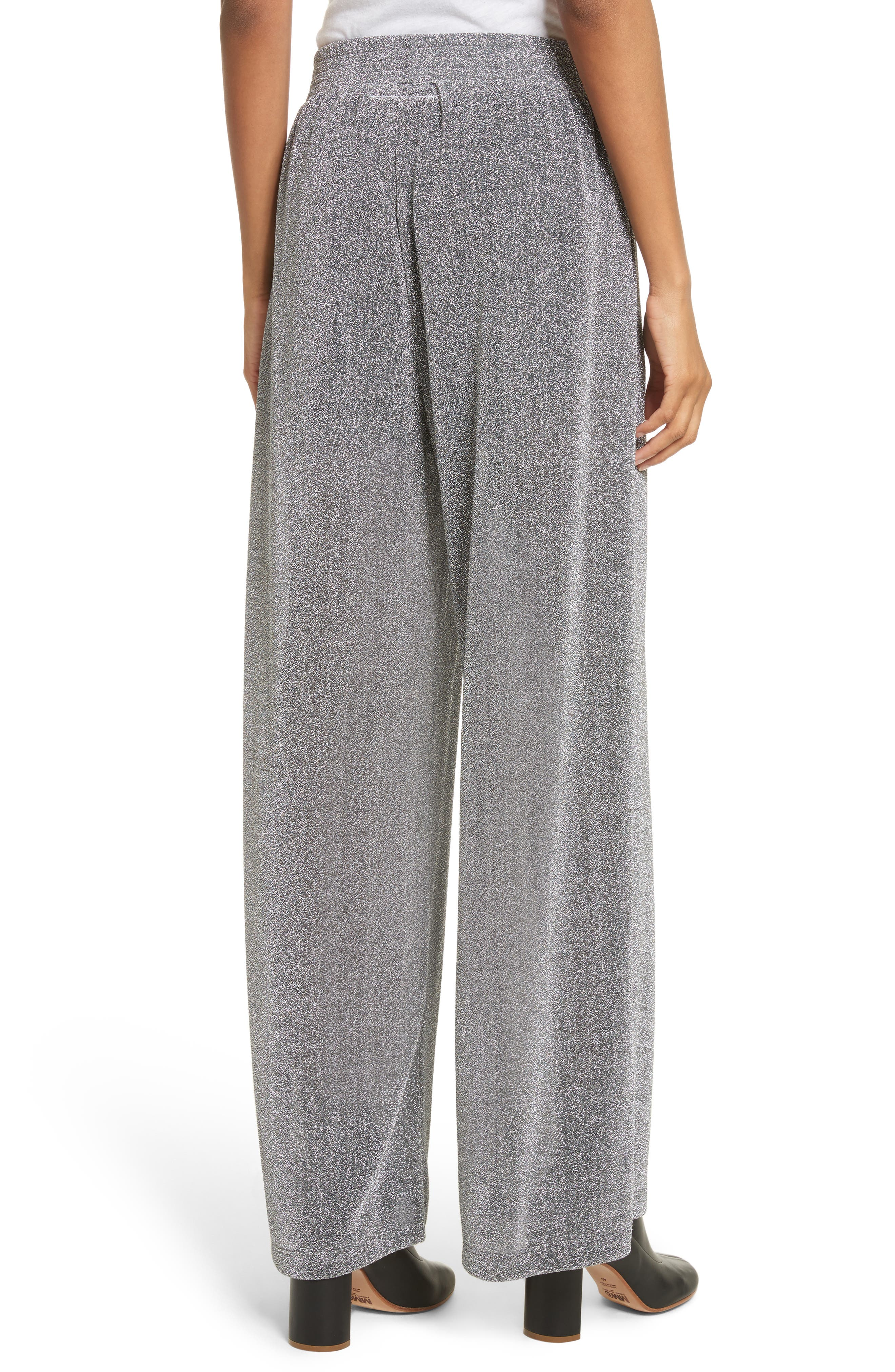 Metallic Jersey Wide Leg Pants,                             Alternate thumbnail 3, color,                             Grey