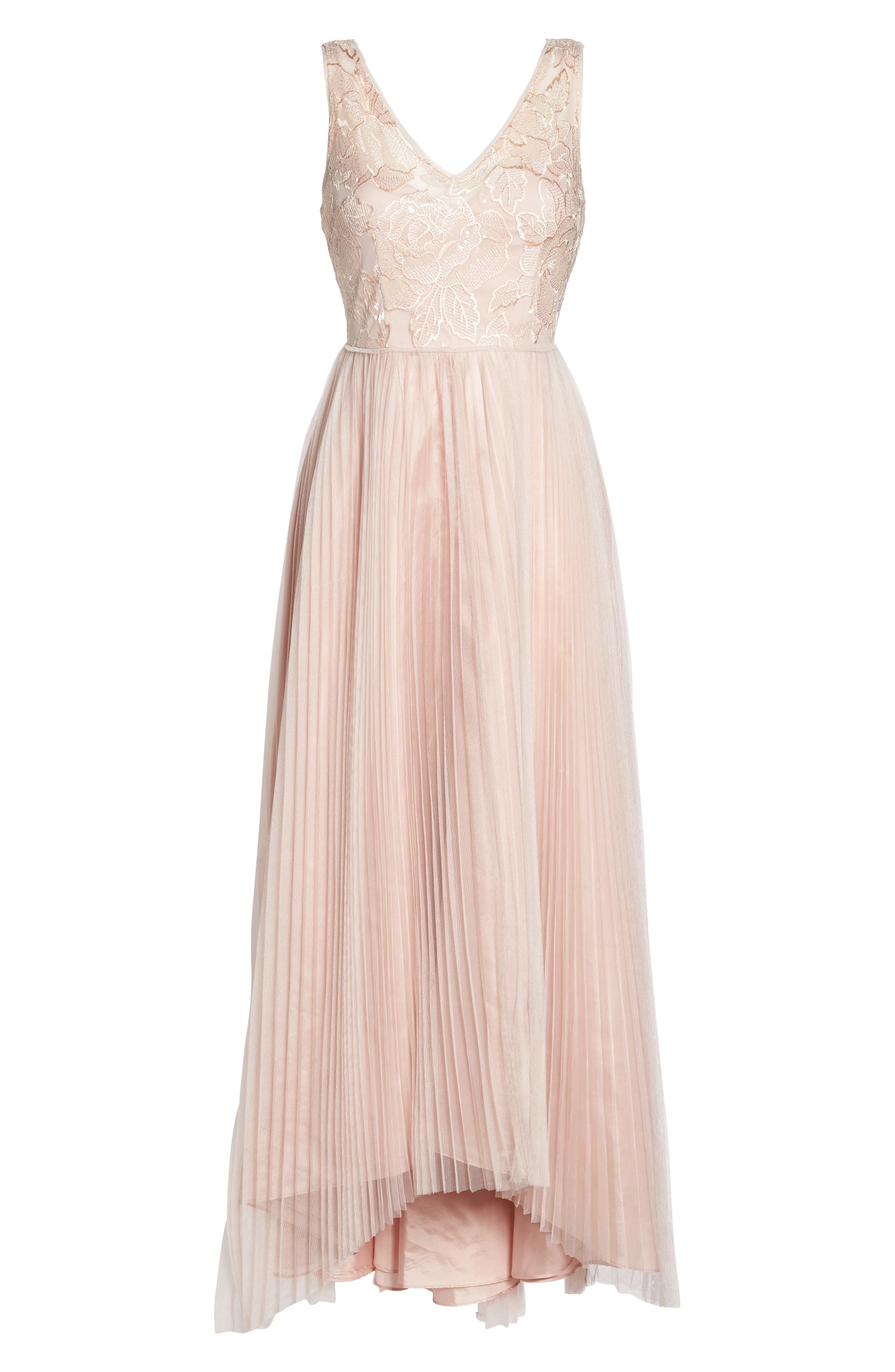 Sequin Pleated Tulle High/Low Gown,                             Alternate thumbnail 6, color,                             Blush