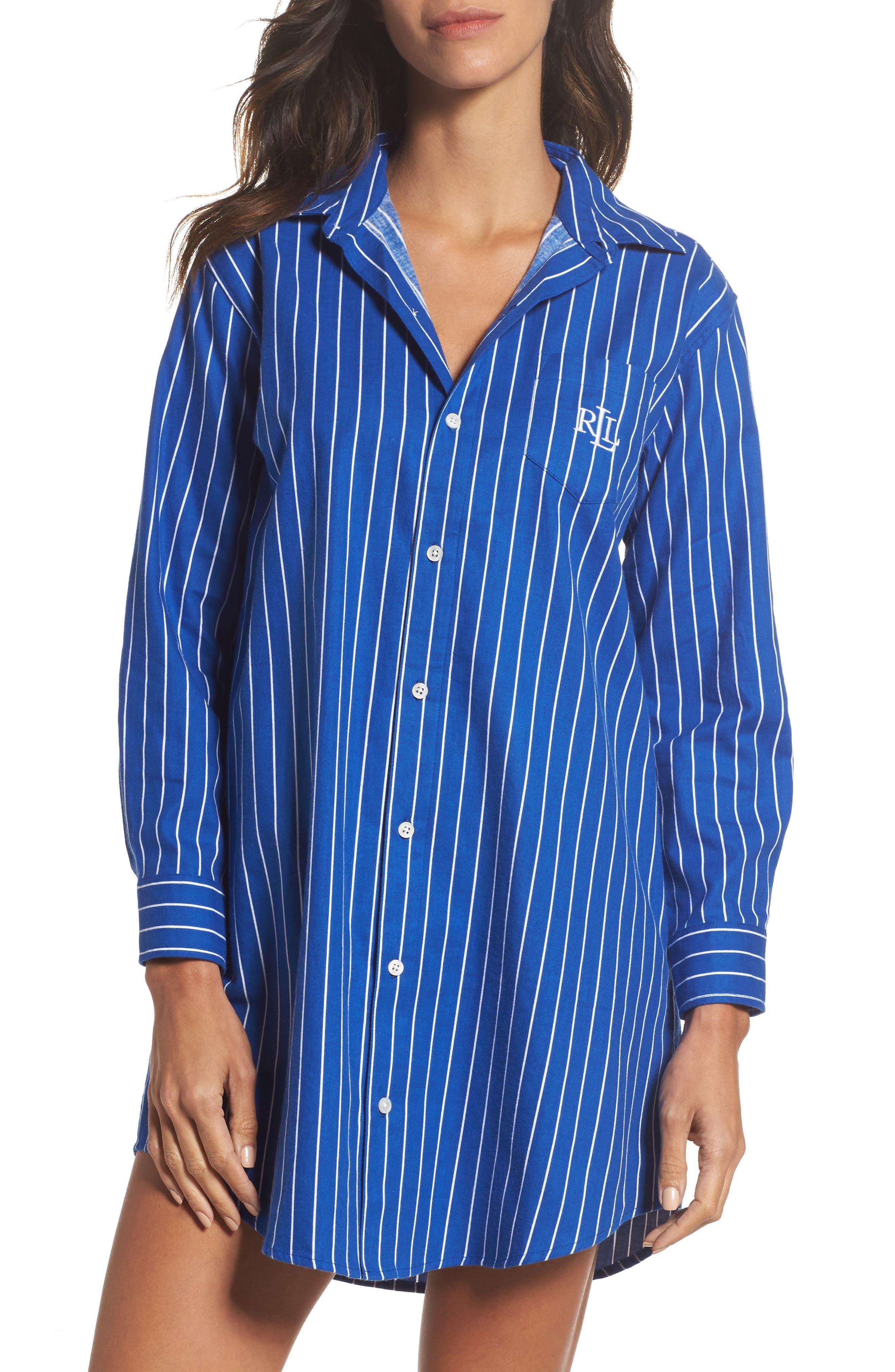 Sleep Shirt,                         Main,                         color, Light Blue Chalk Stripe