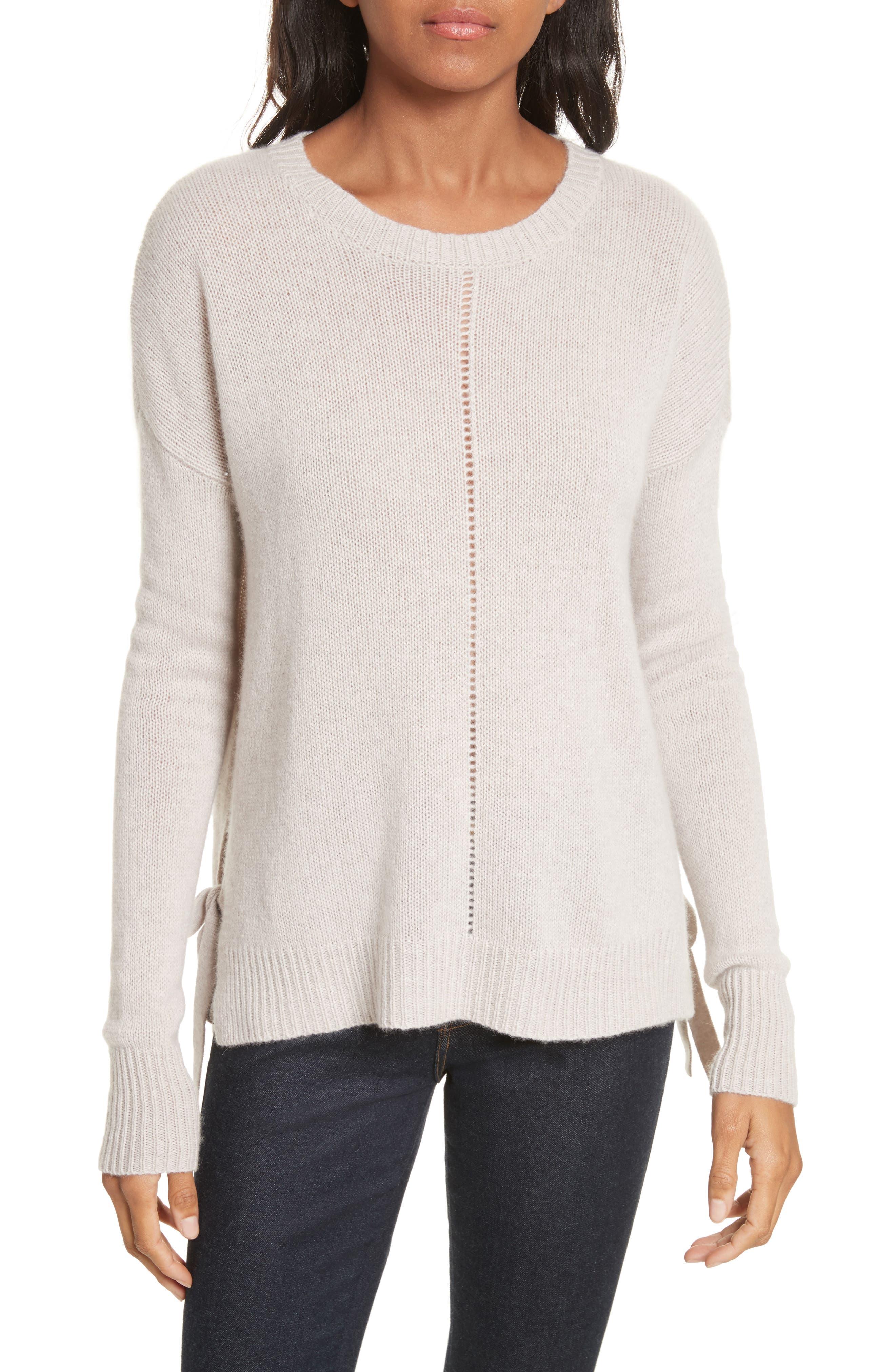 Tie Hem Cashmere Sweater,                         Main,                         color, Bone