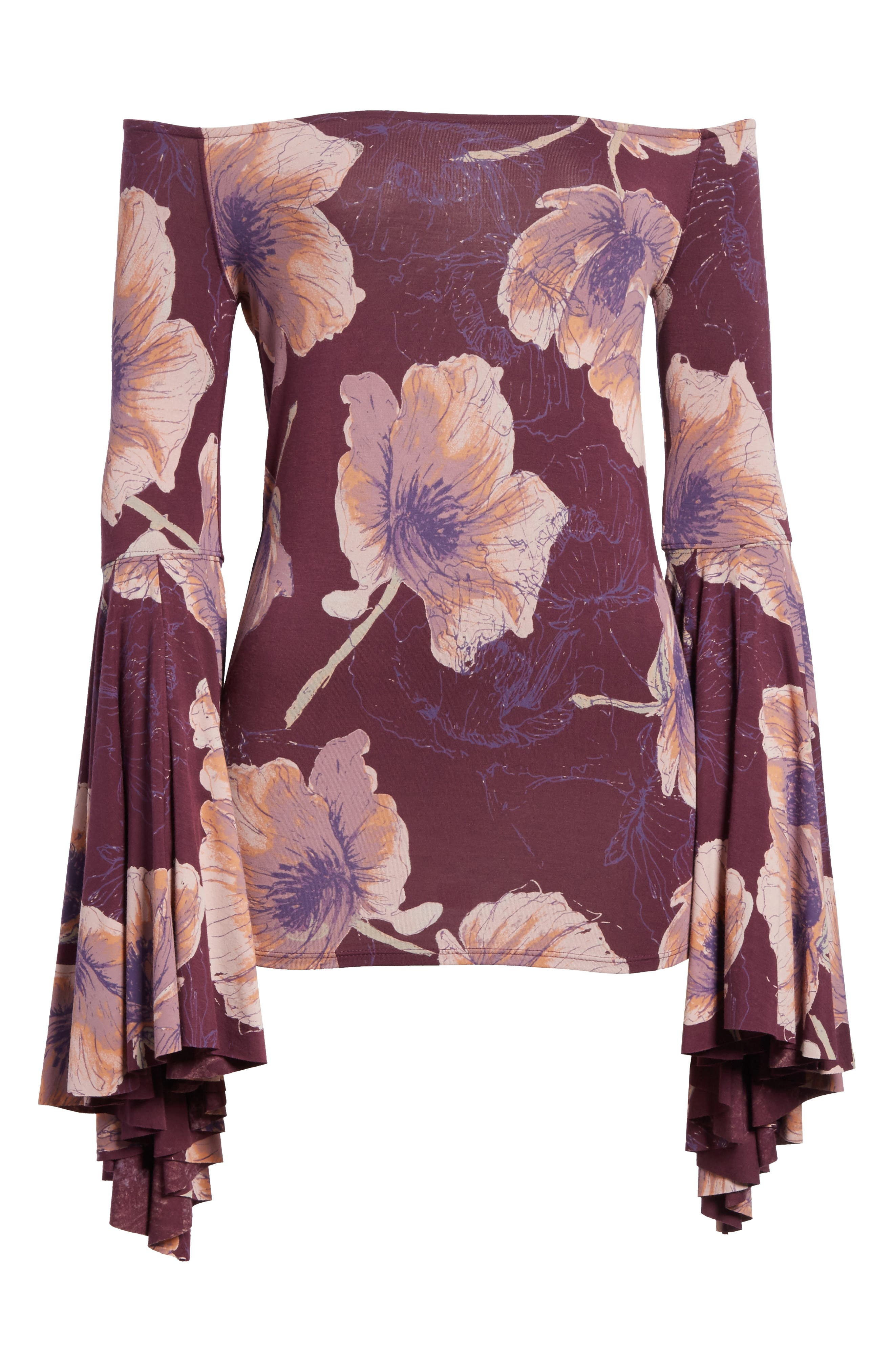Birds of Paradise Print Off the Shoulder Top,                             Alternate thumbnail 6, color,                             Wine