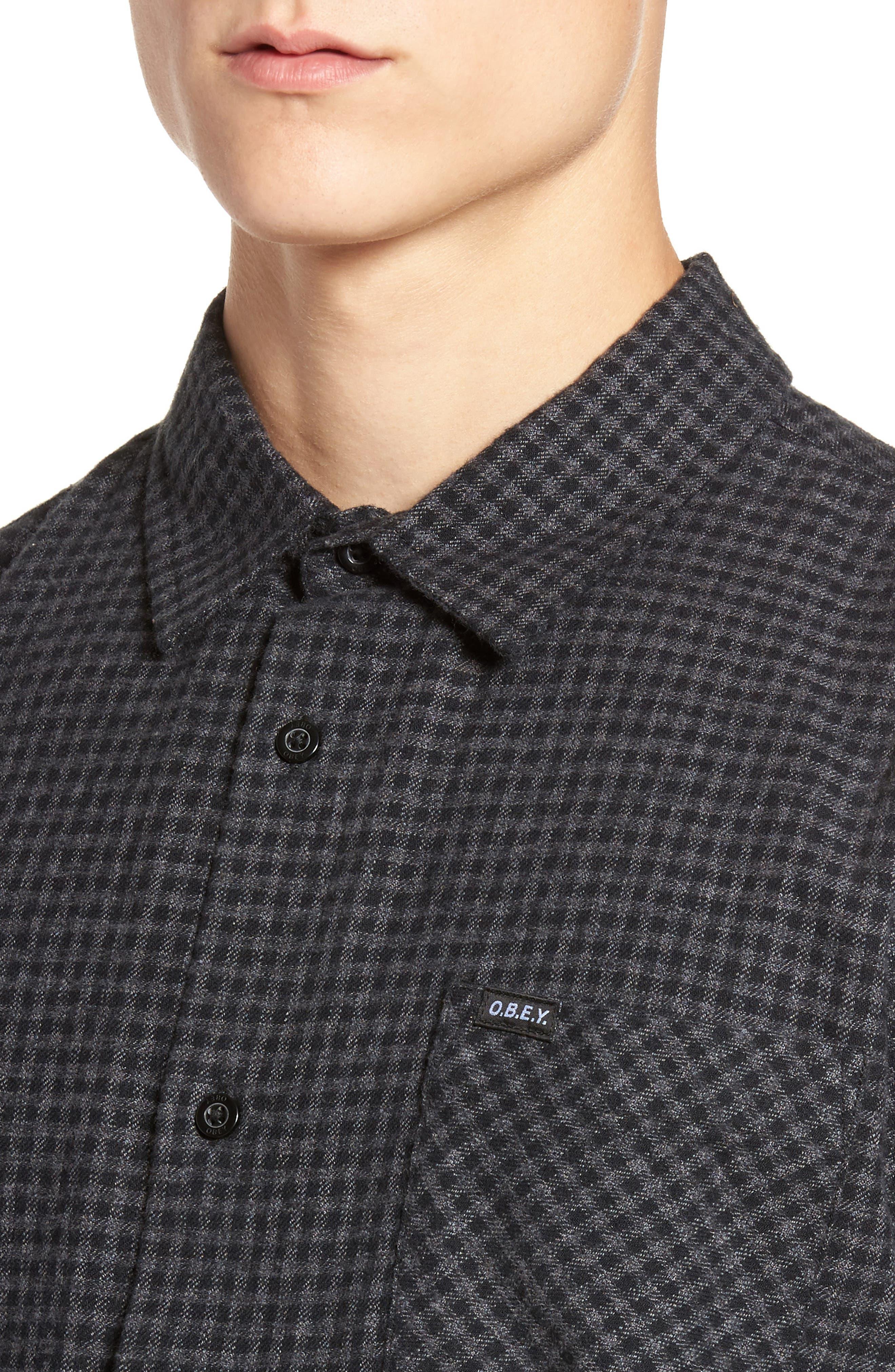 Outsider Microcheck Sport Shirt,                             Alternate thumbnail 4, color,                             Black Multi