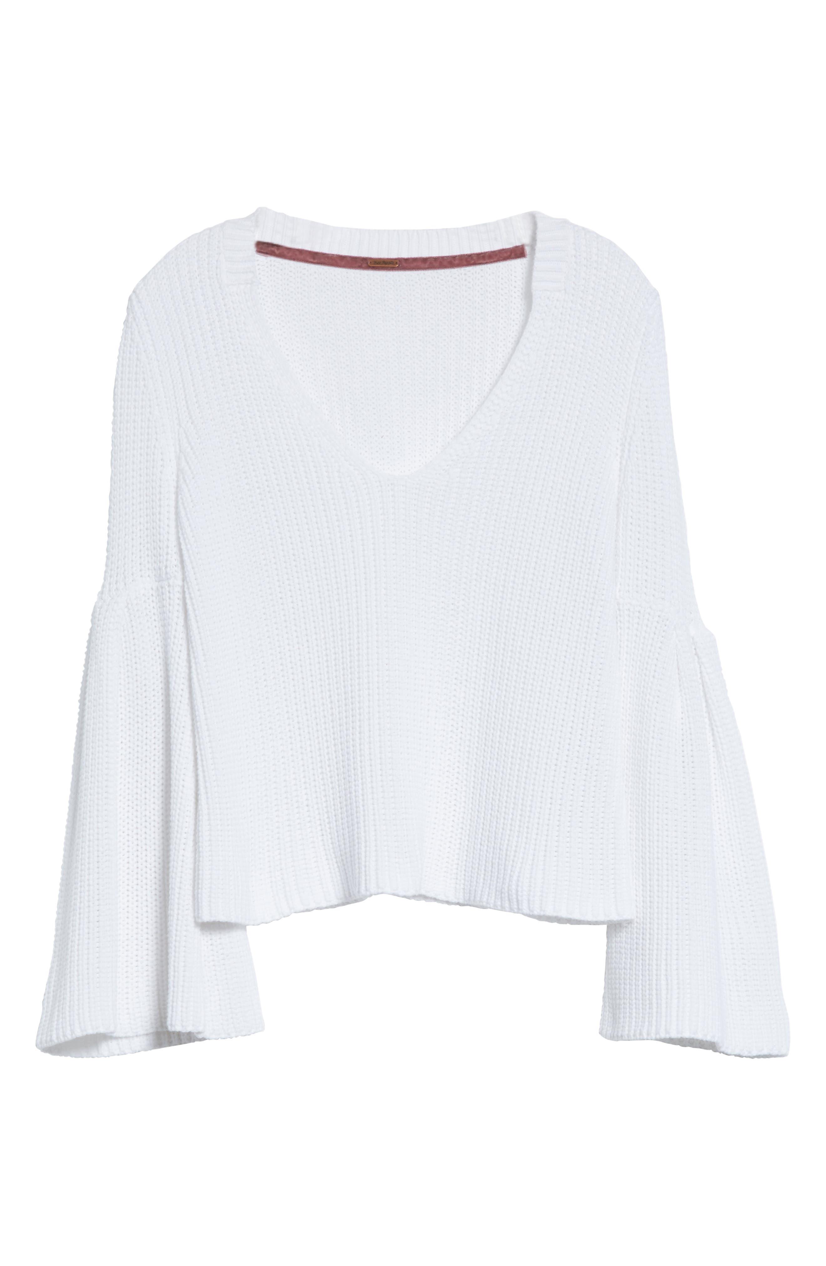 Damsel Bell Sleeve Pullover,                             Alternate thumbnail 6, color,                             White
